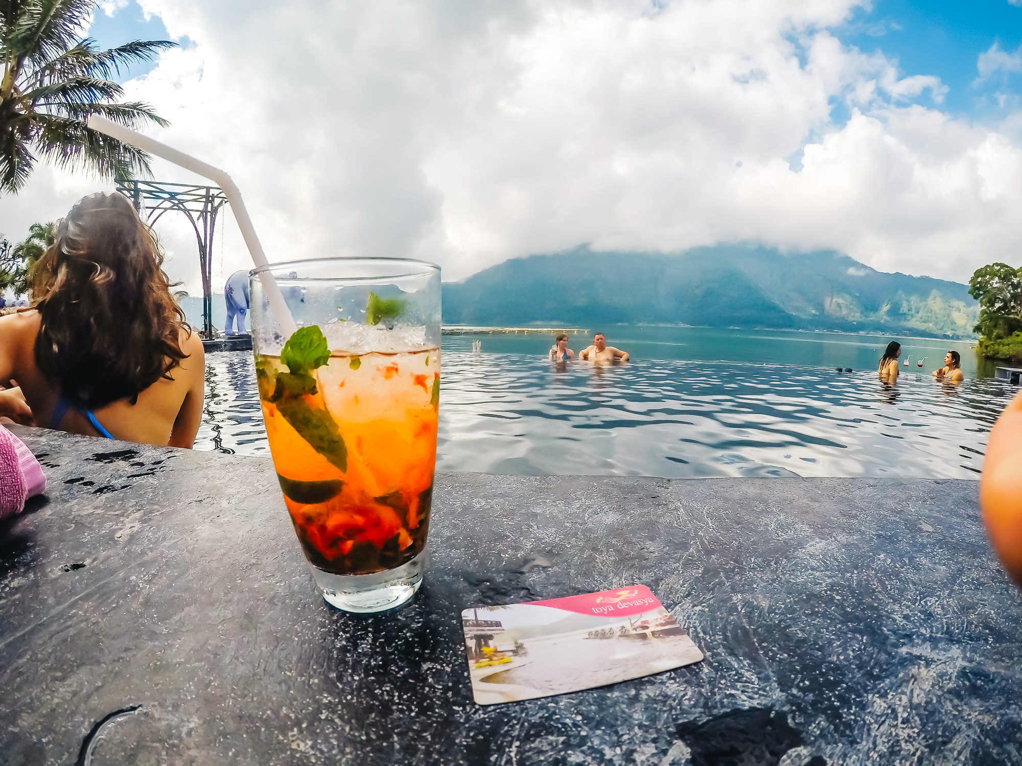 Expensive drinks at Batur Natural Hot Springs but very tasty strawberry mojito