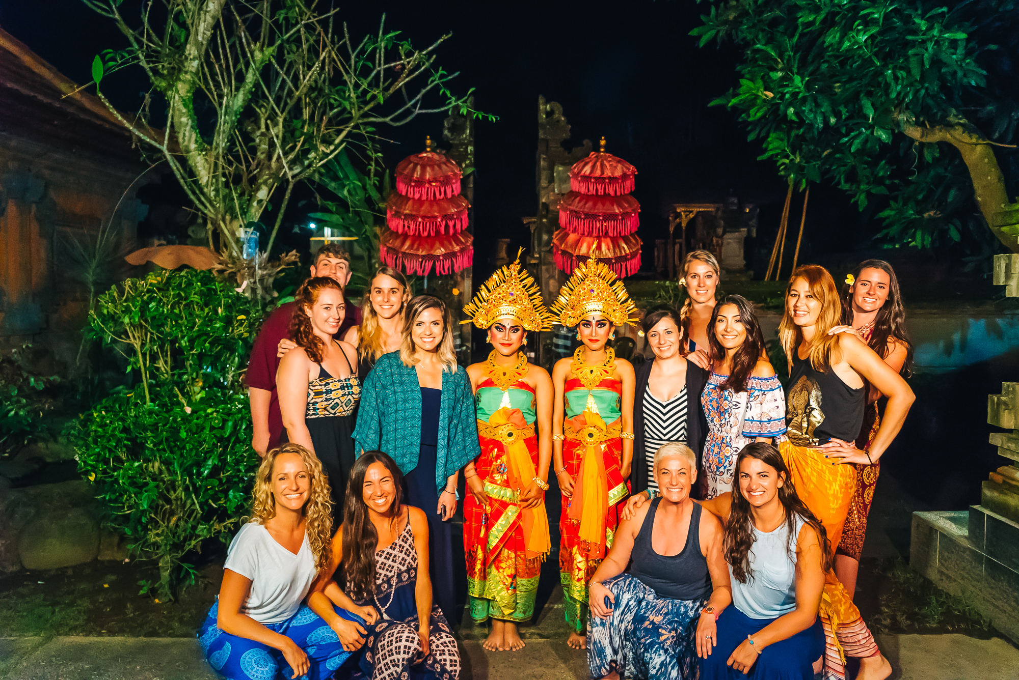 The beautiful ladies from the Bali yoga retreat along with Agung's twin daughters