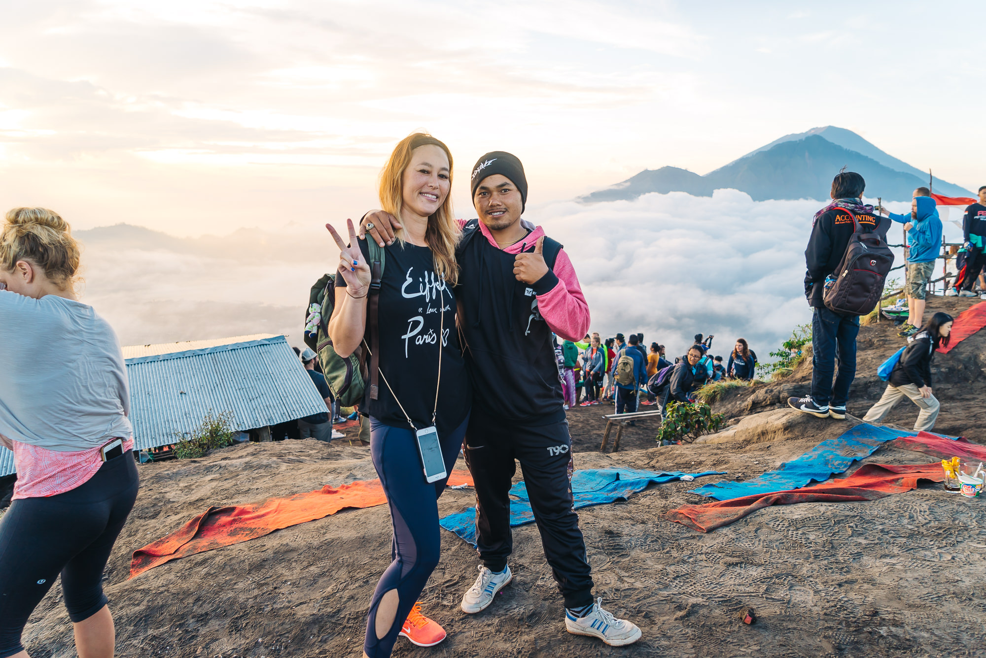 Climbing Mt Batur with the help from my friend, Nyoman