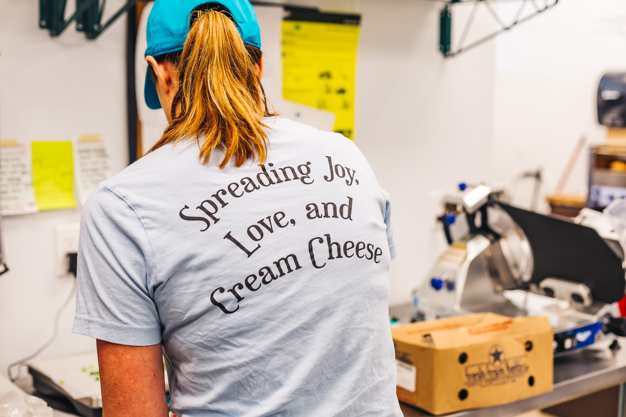 "Ozark Mountain Bagel's tagline is ""Spreading Joy, Love and Cream Cheese"""