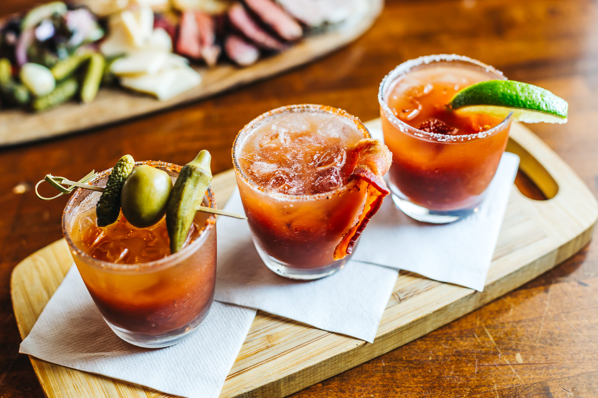 Tusk & Trotter's Bloody Mary flight - Pickle Mary, Bacon Mary and Tequila Lime