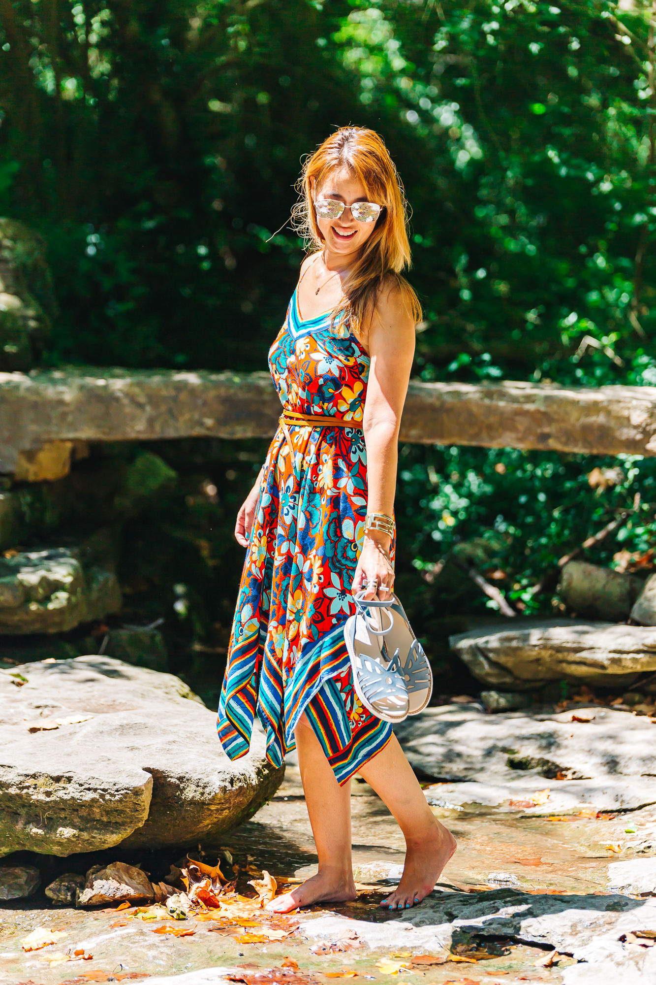 FLORAL PRINT SCARF Dress:   California MoonRise