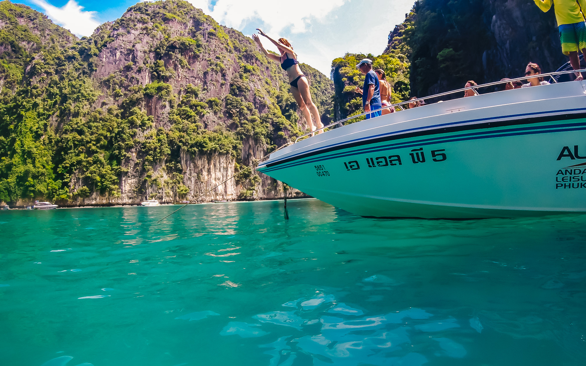 It was incredibly exhilarating to jump off that boat into the clear waters of Phi Phi Islands