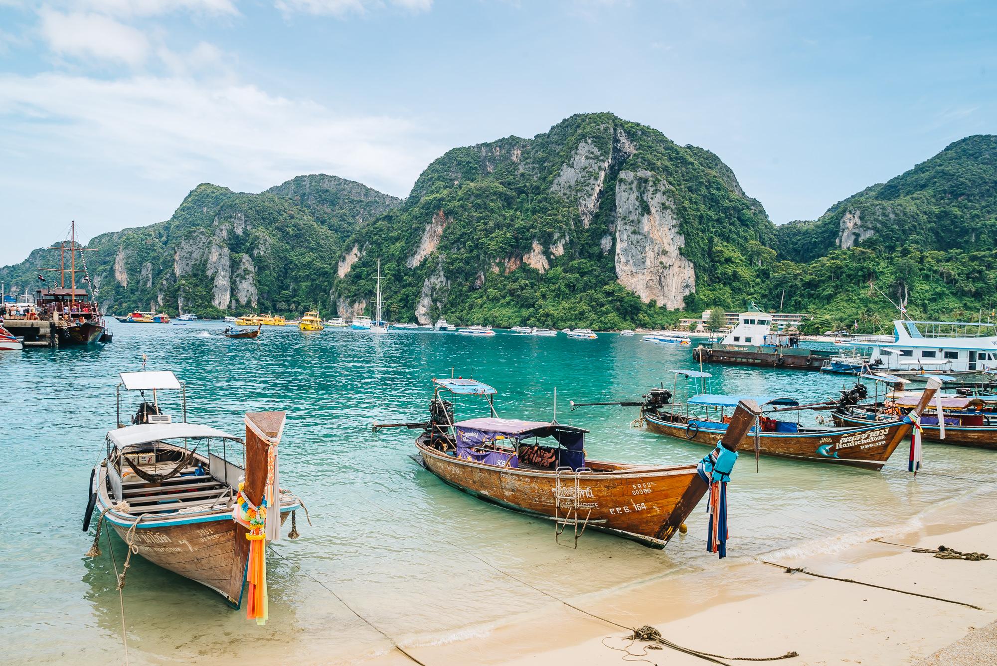 Classic Thai boats of Phi Phi Islands