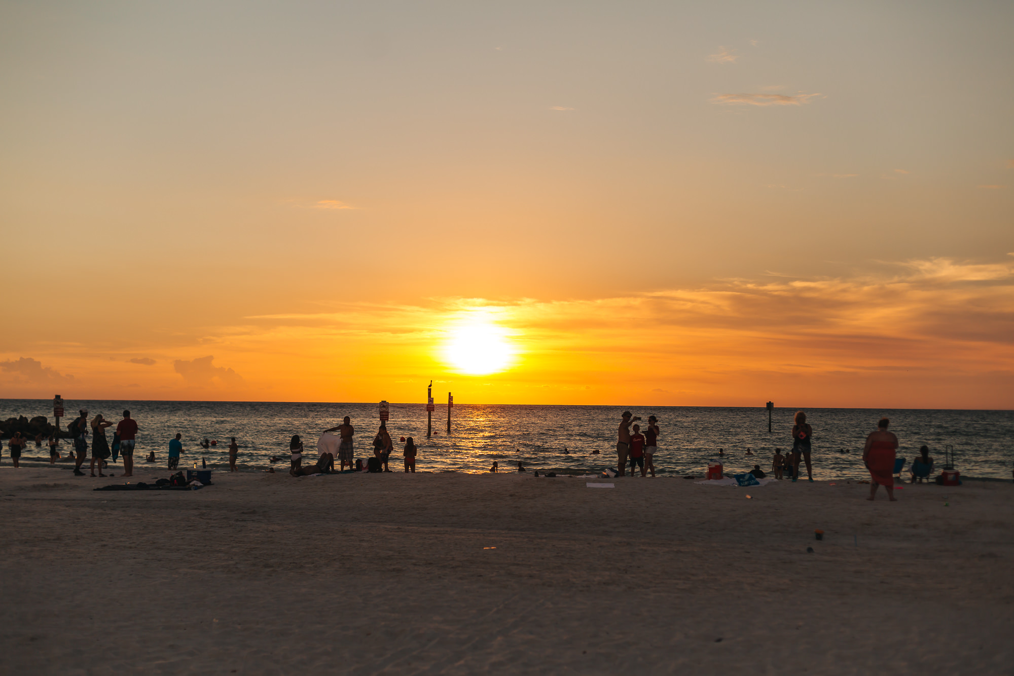 The crowd gathering around Clearwater Beach to take in the sunset.