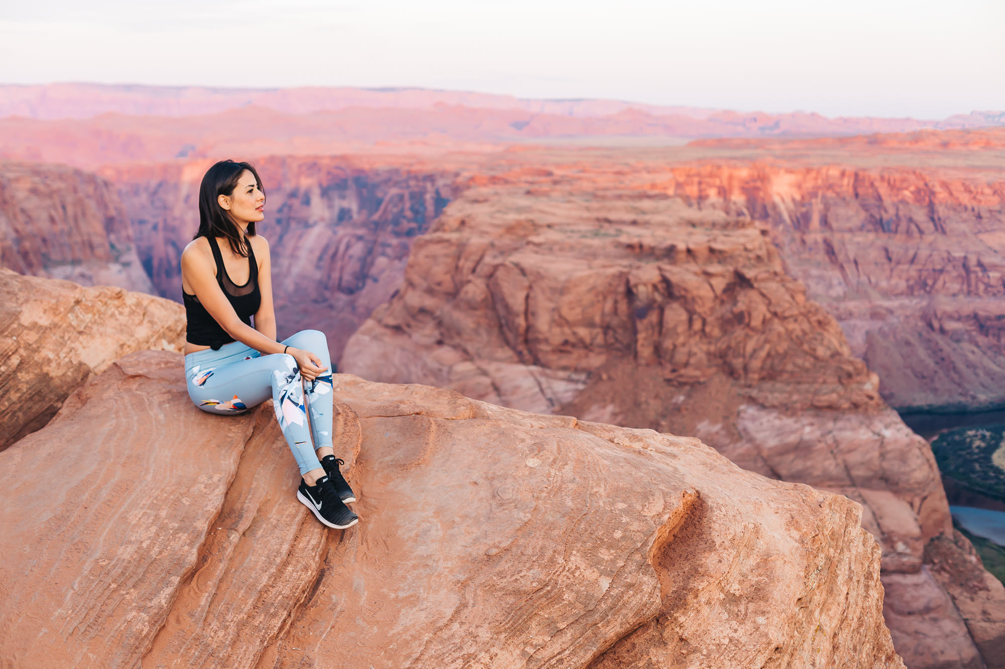 Taking in all the beautiful colors of the rocks at Horseshoe Bend