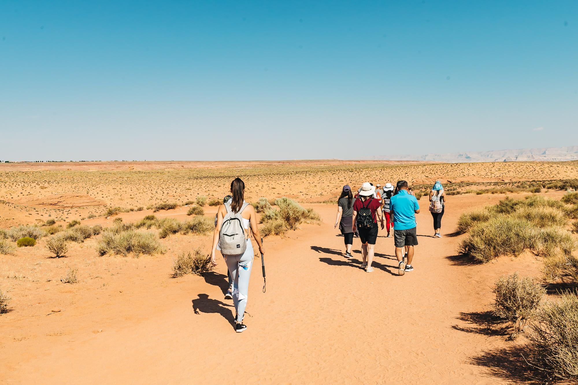 Taking a short walk to Lower Antelope Canyon