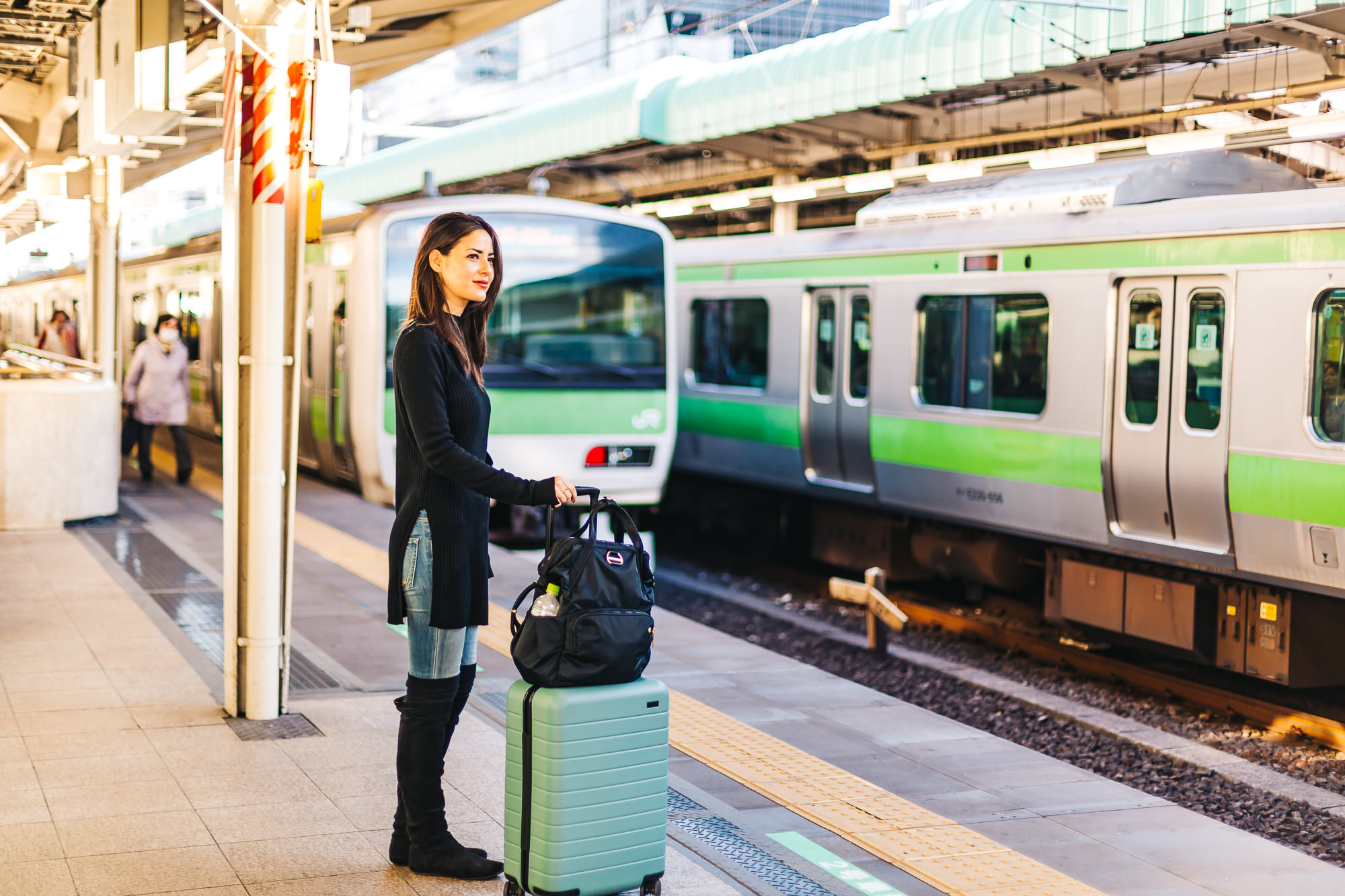 The Japanese train system is superb - Wearing Margaret Oleary   Gretchen Tunic  , Away   Suitcase  , Pacsafe   Anti-Theft Backpack