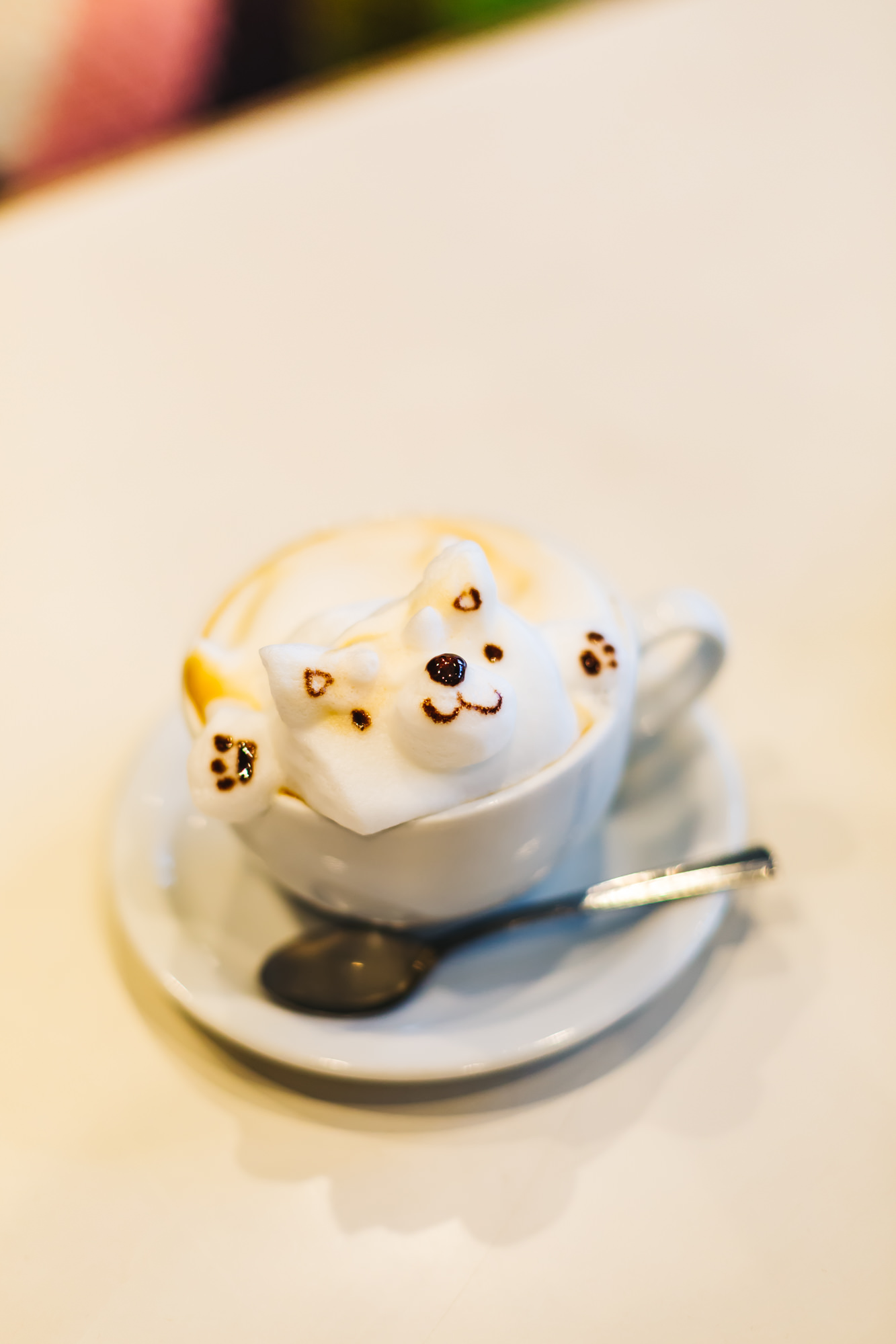 Dog 3D coffee art