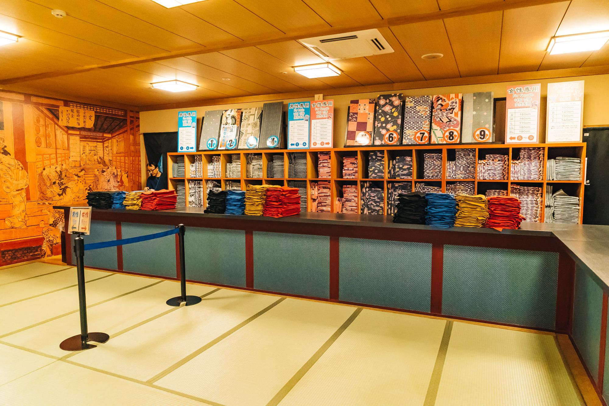 A variety of yukata choice for men and women