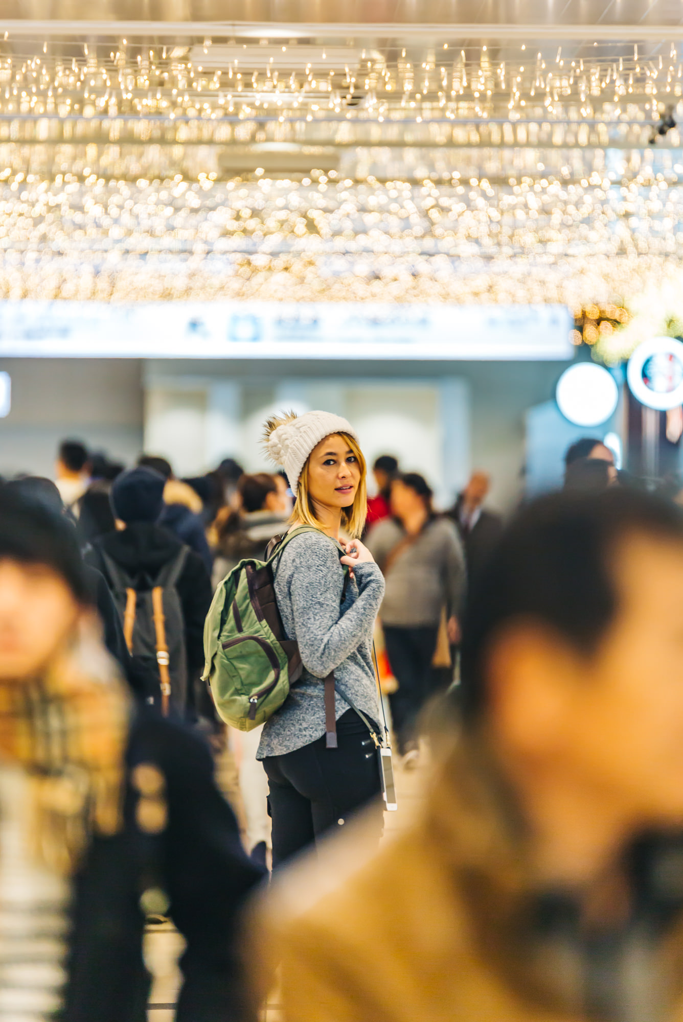 Walking through the busy Tokyo station