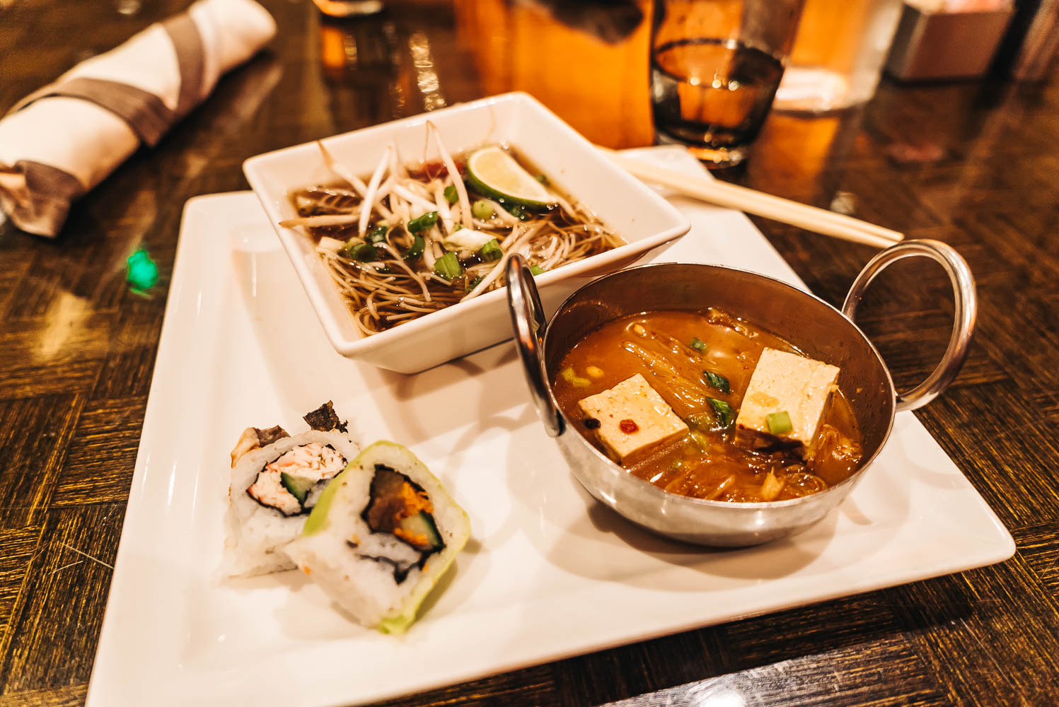 ASIAN CUISINE FROM BRUNCH AT THE WICKED SPOON: SUSHI, KIMCHI JJIGAE, & PHÓ