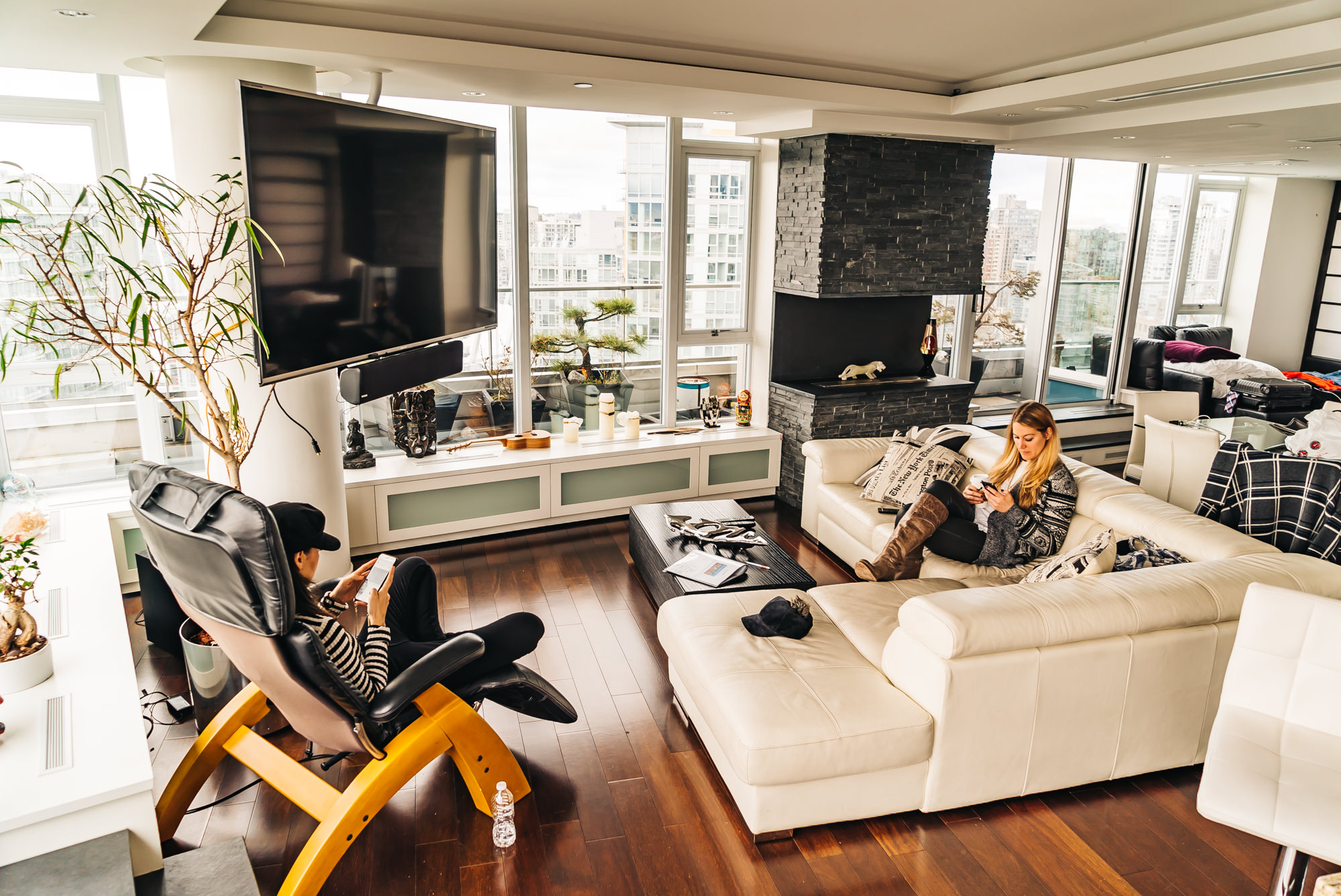 The spacious living room at the Airbnb penthouse