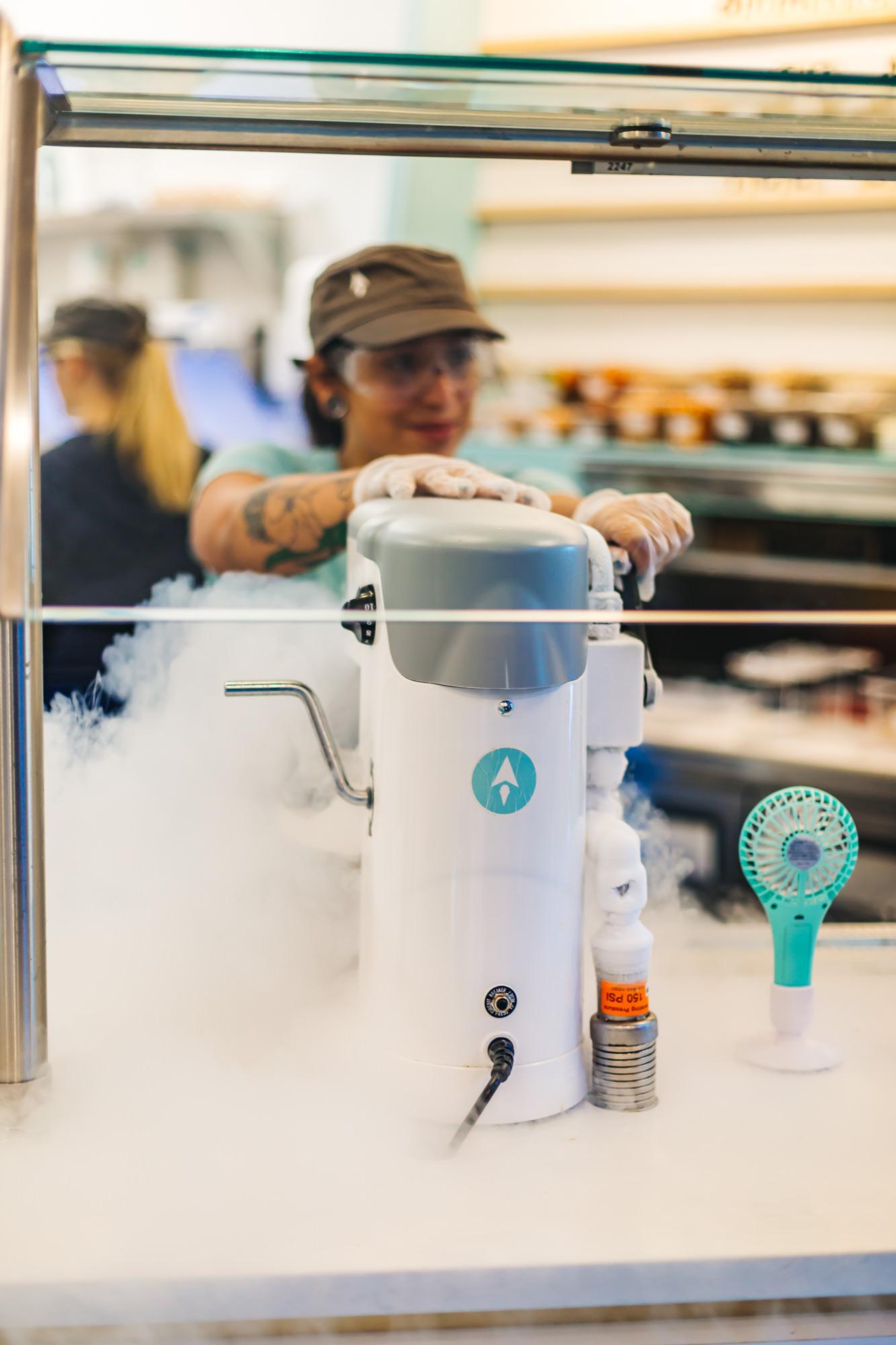 Liquid nitrogen ice cream made-to-order at Astro Ice cream