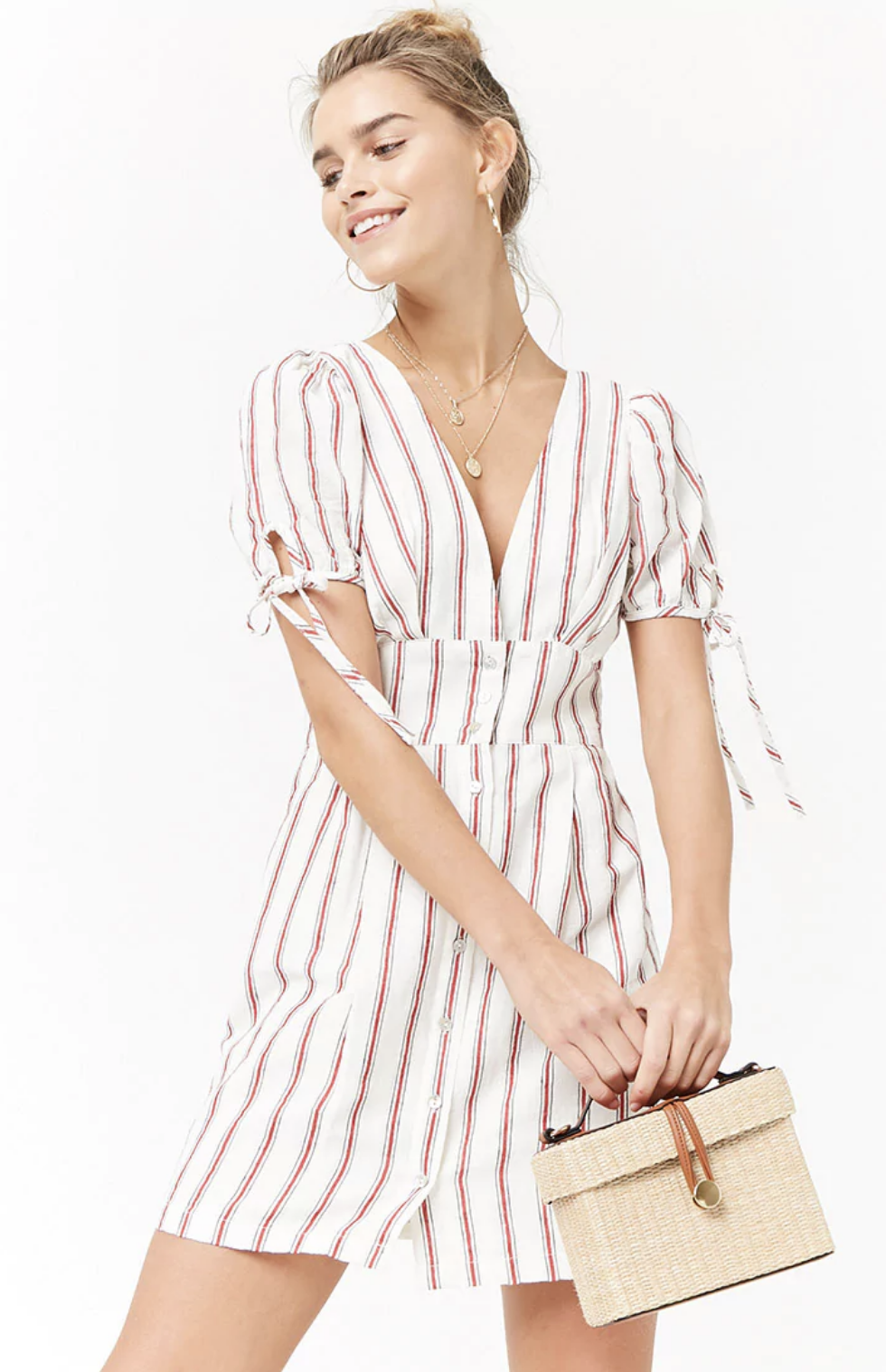 Forever21 Plunging Striped Dress