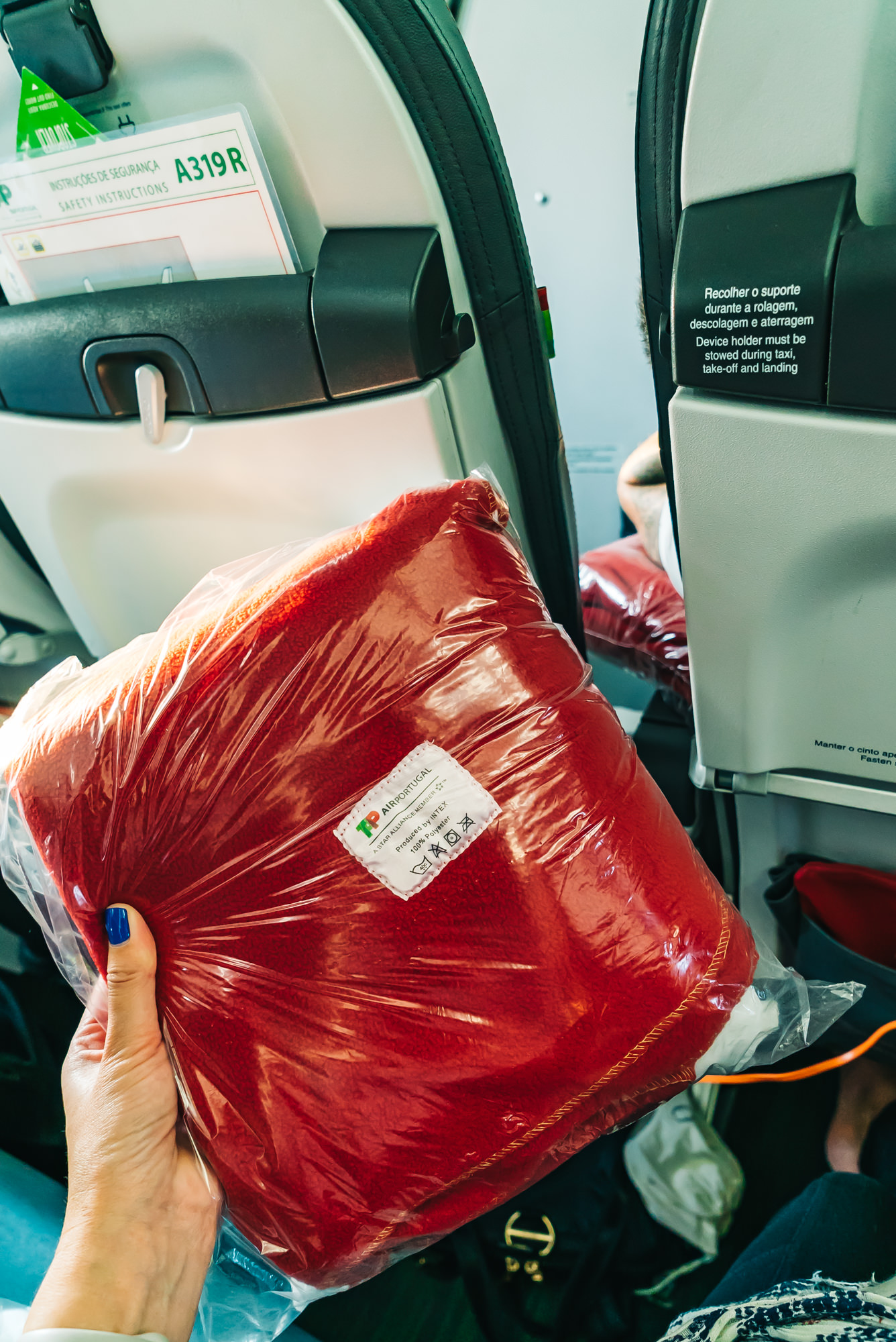Thick, warm blankets provided on TAP Air Portugal Executive Class