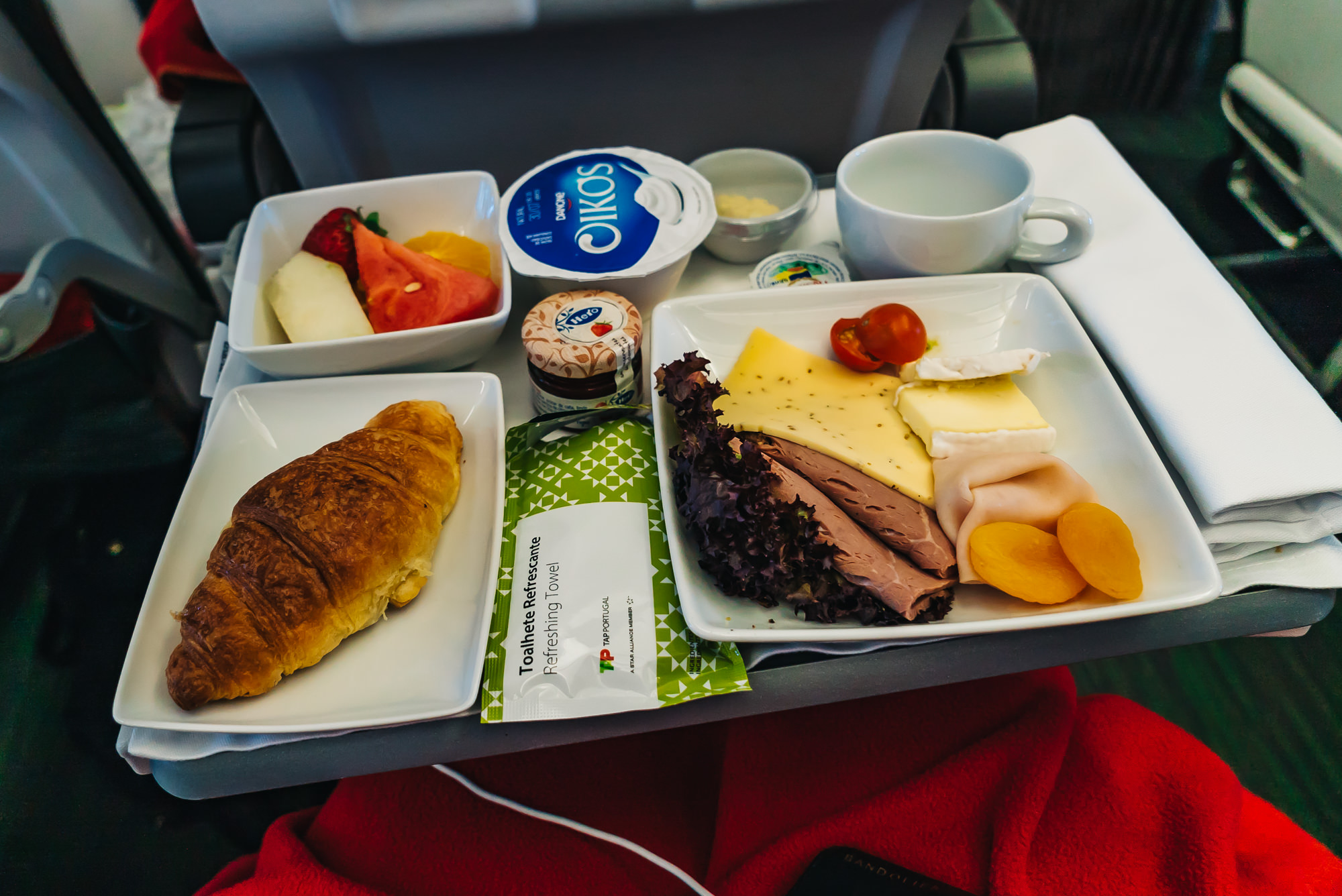 Breakfast tray on TAP Air Portugal's Executive Class