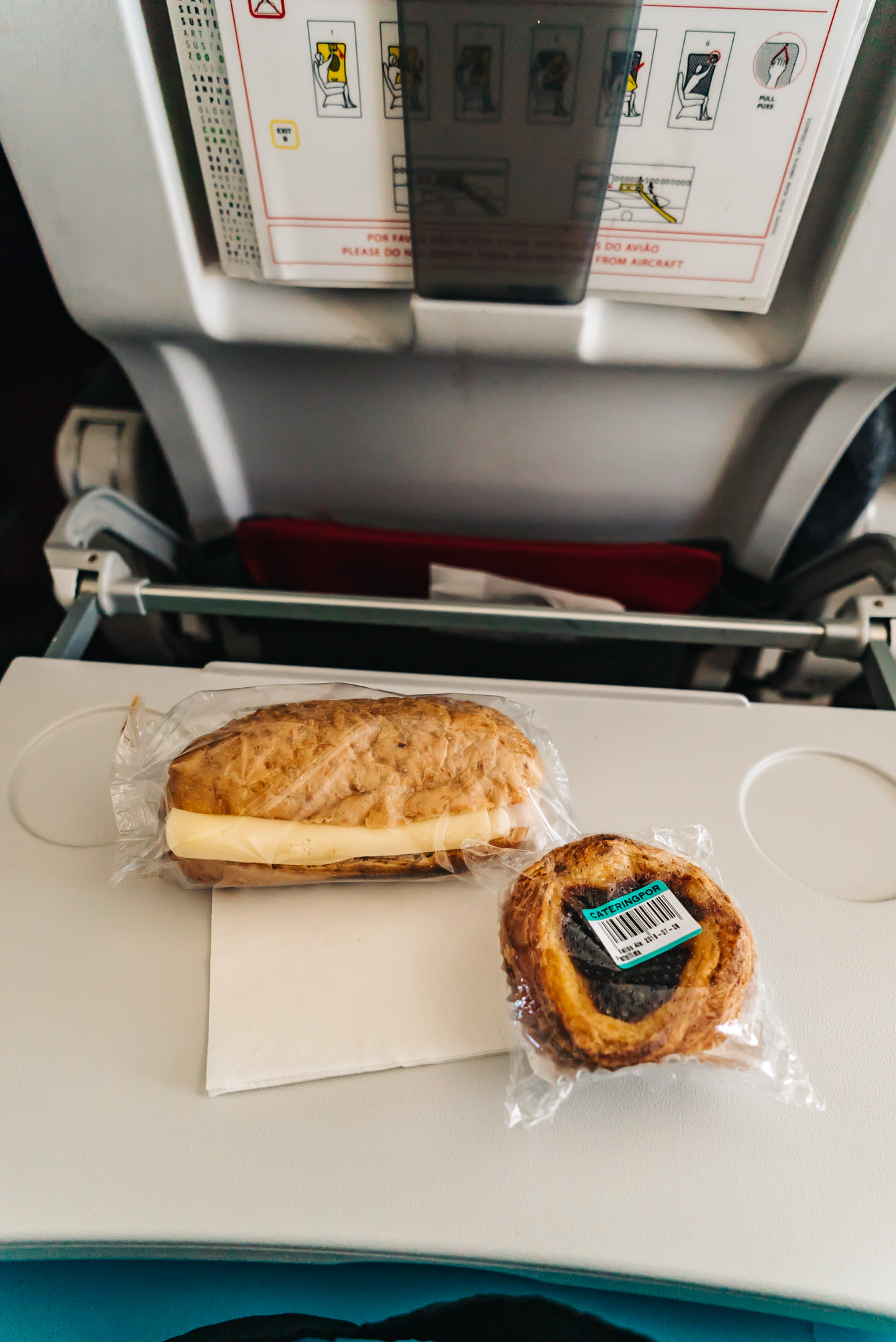 Complimentary Sandwich and tart snack on TAP Air Portugal