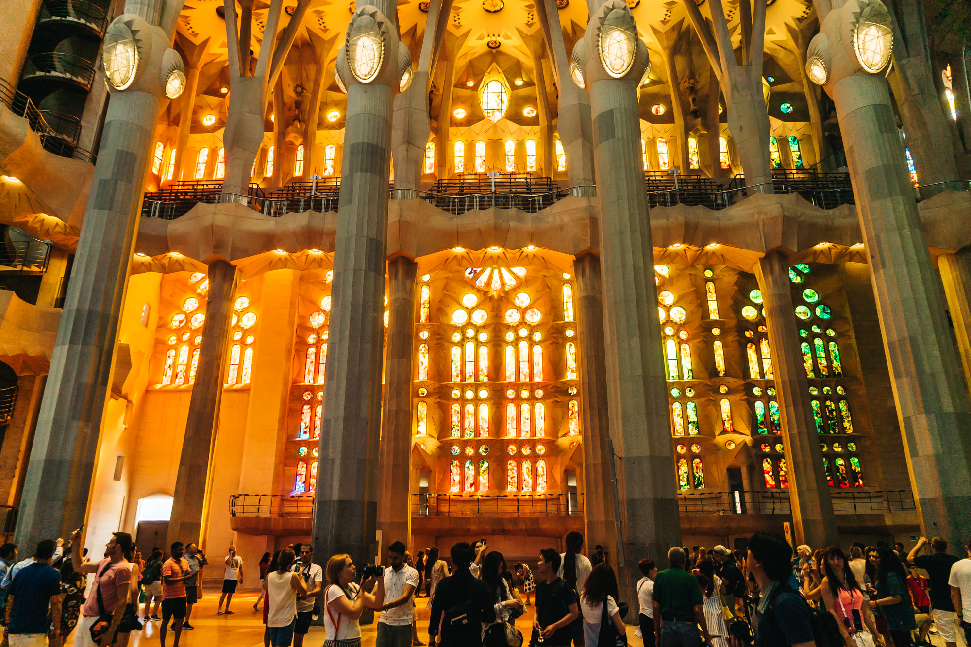 Be prepared to be surrounded by tourists at La Sagrada Familia