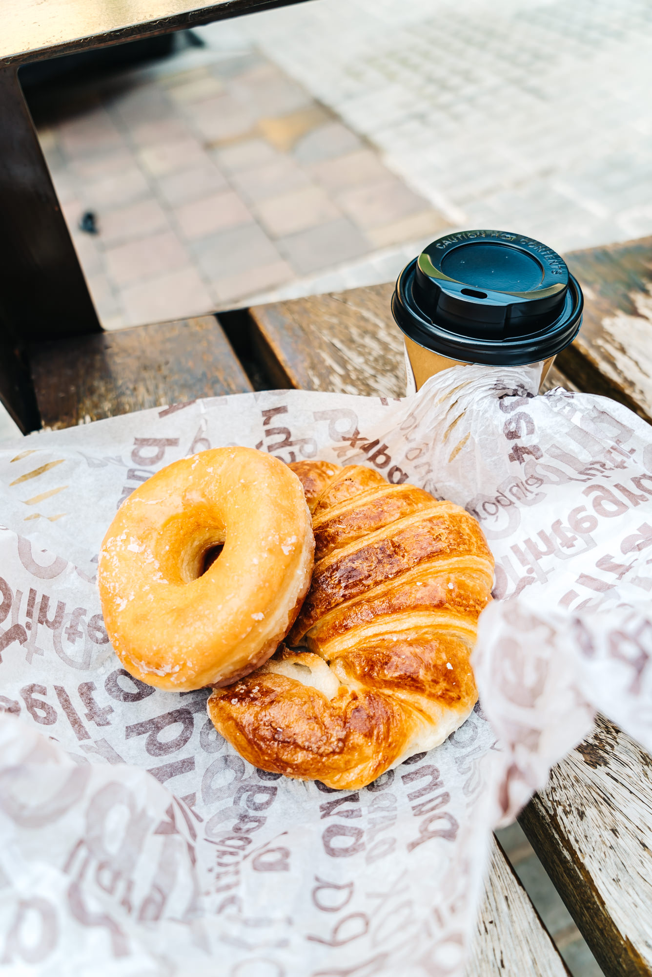 croissant, donut and coffee from the bakery in Baga