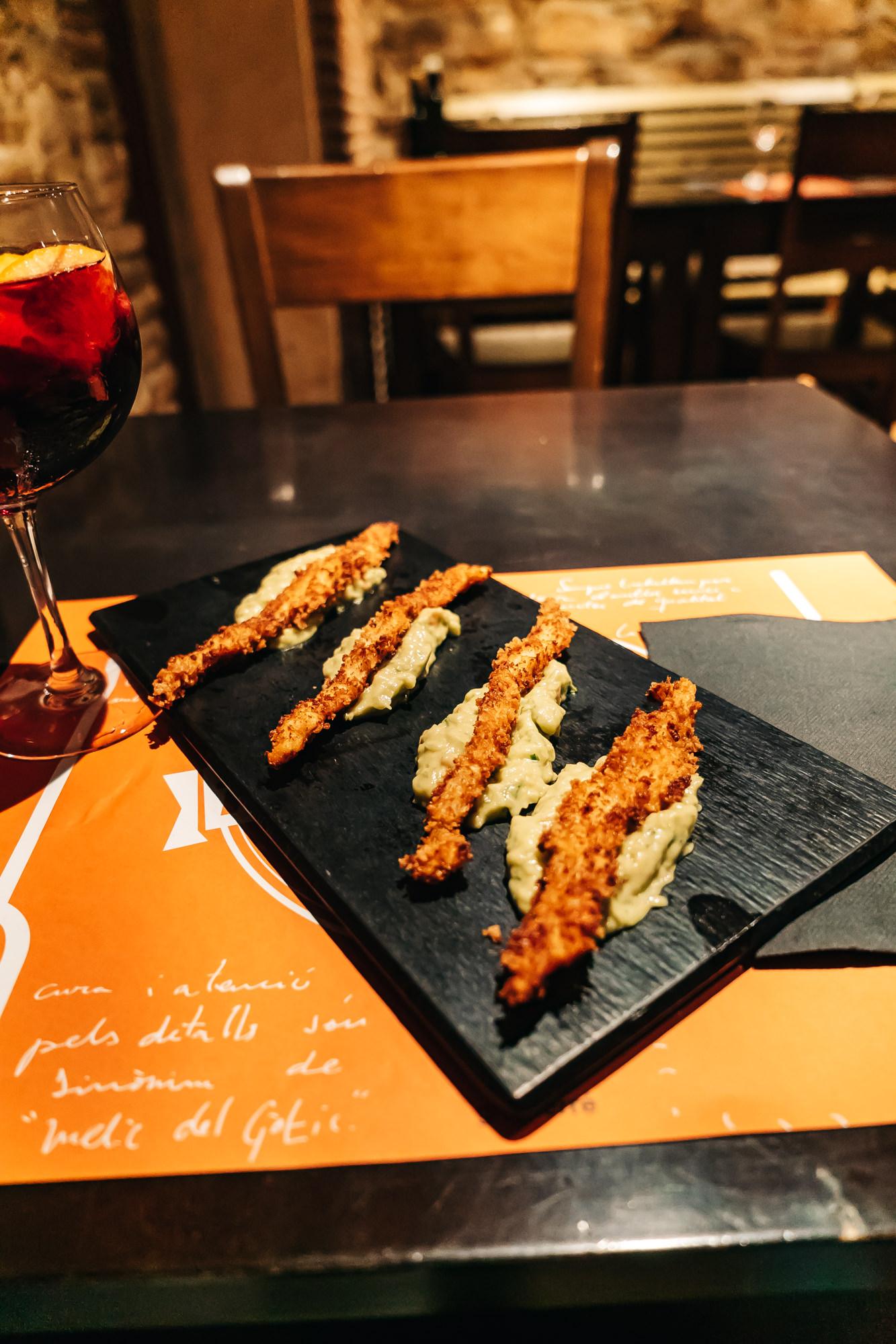 Panko Chicken with Guacamole at Melic Del Gotic