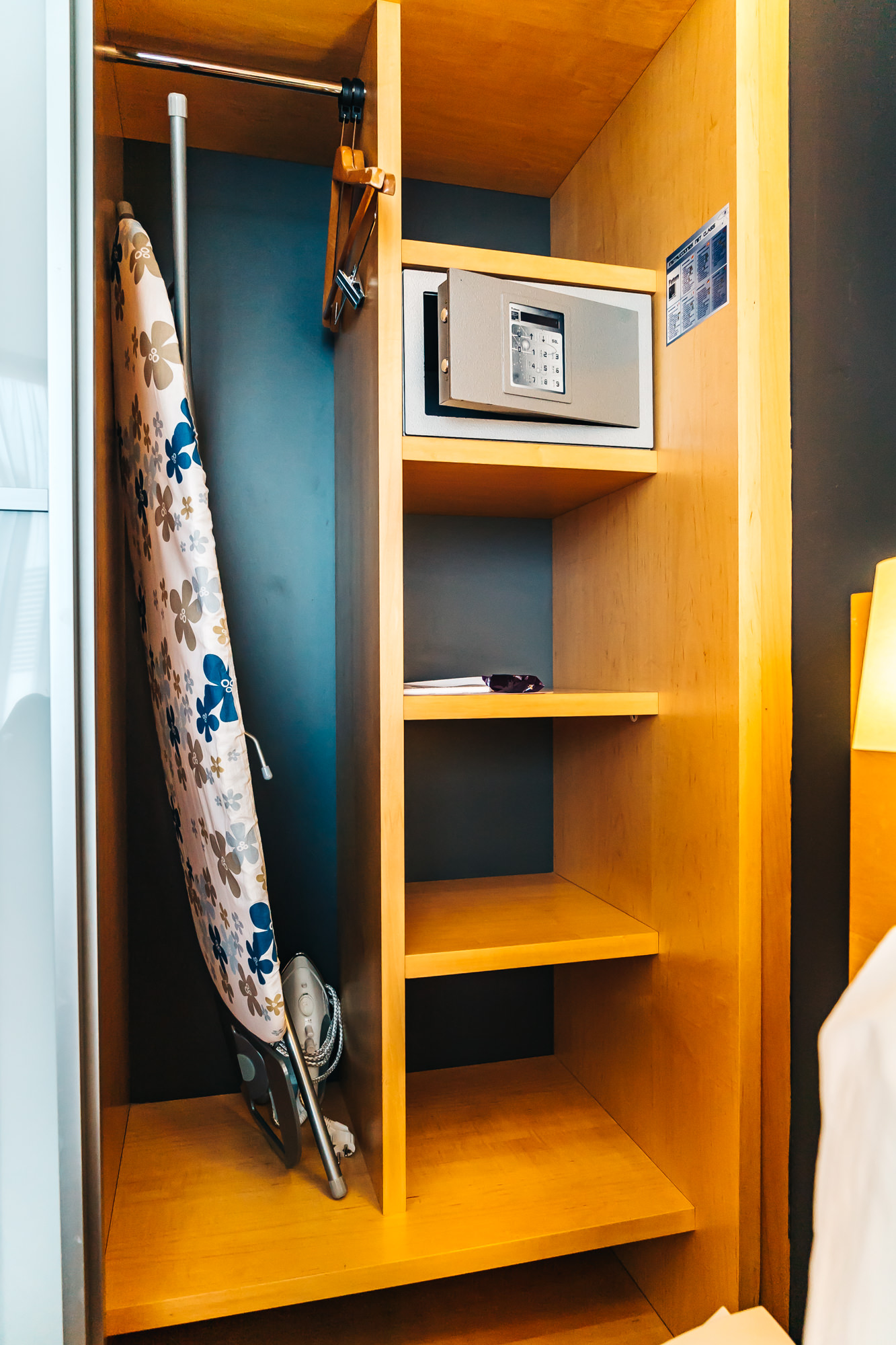 Plenty of closet space with safe and ironing board