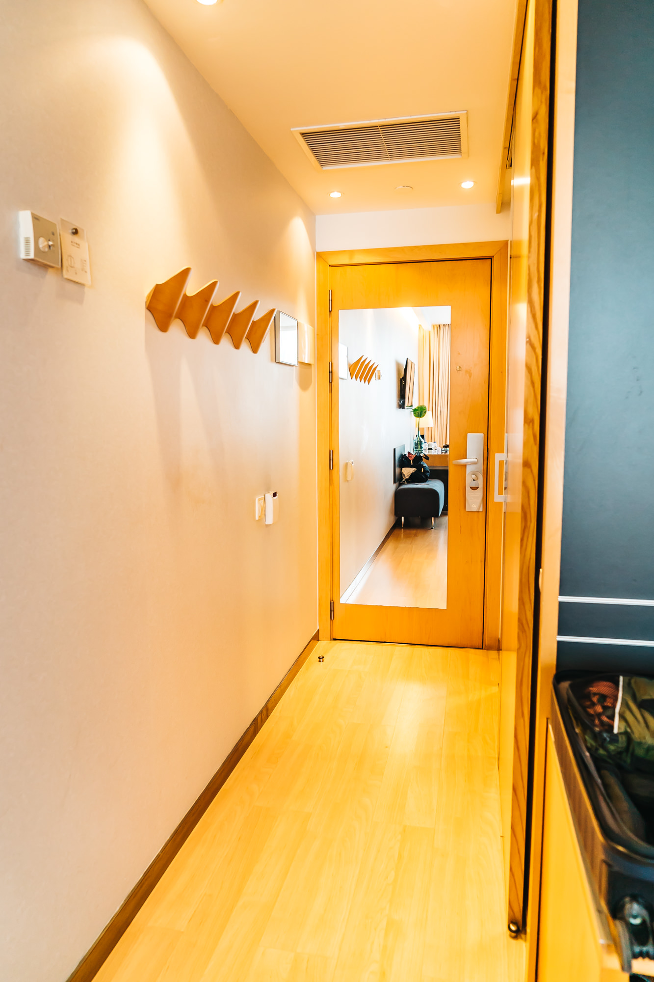 Nice hallway with large mirror and coat rack