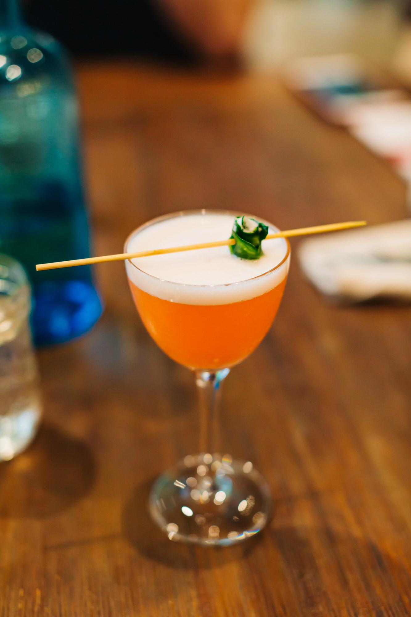 The Perfect Pear - Eau Claire Equinox Vodka, Aperol Lemon Juice, Simple Syrup, Egg Whites