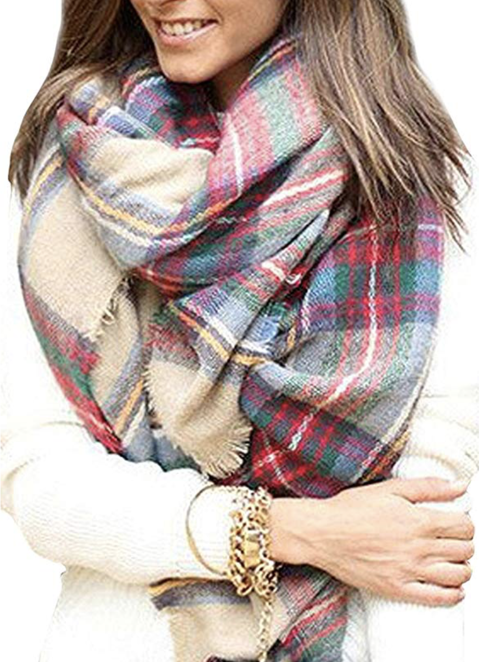 Tartan Wrap Oversized Shawl Cape