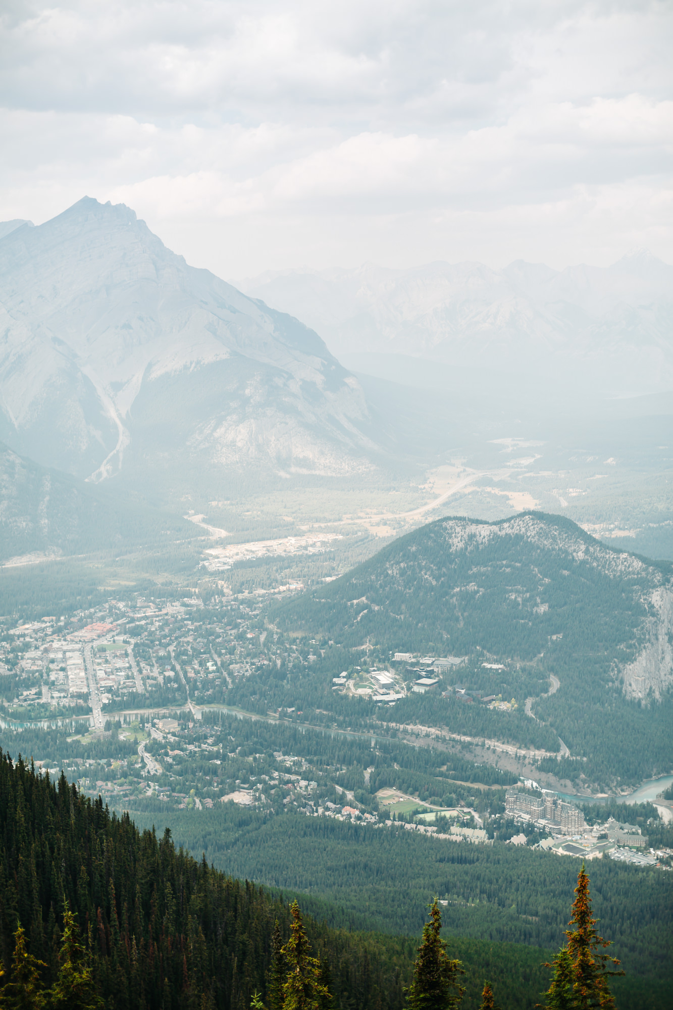View of Banff from the summit of Sulphur Mountain