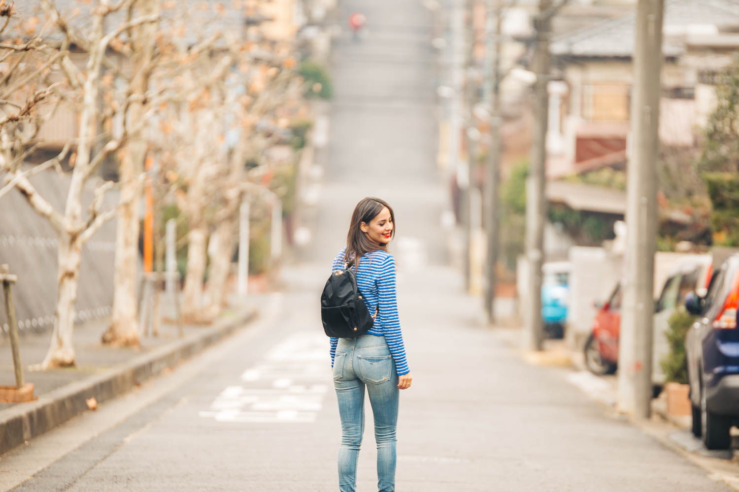 PACSAFE CITY-SAFE ANTI-THEFT   CONVERTIBLE BACKPACK     // MARGARET O'LEARY   STRIPED TOP   // EXPRESS   JEANS