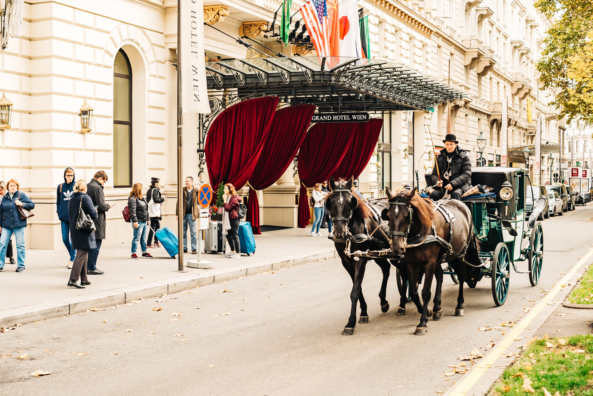 Horse carriage passing by Grand Hotel Wien