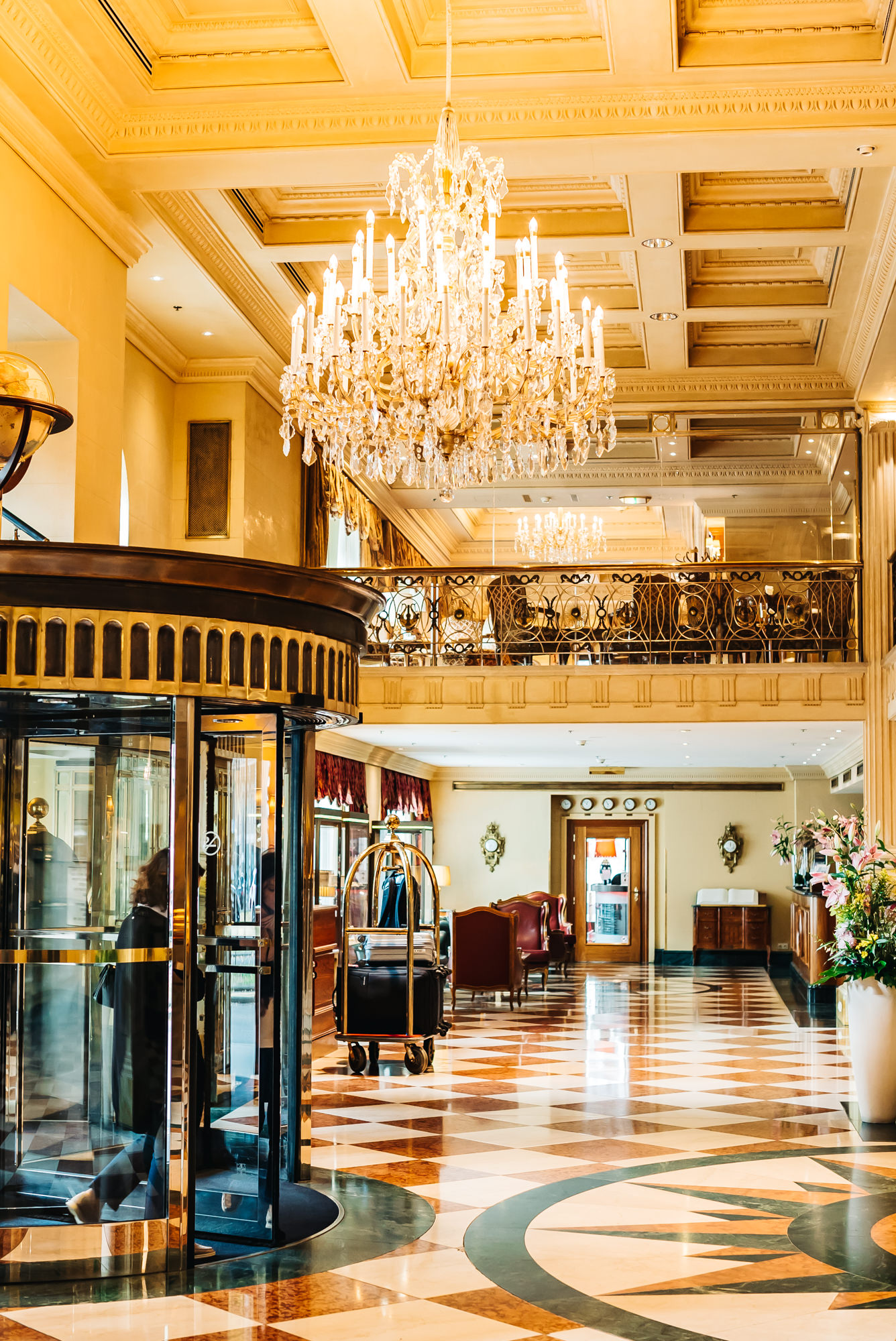 Beautiful lobby of Grand Hotel Wien