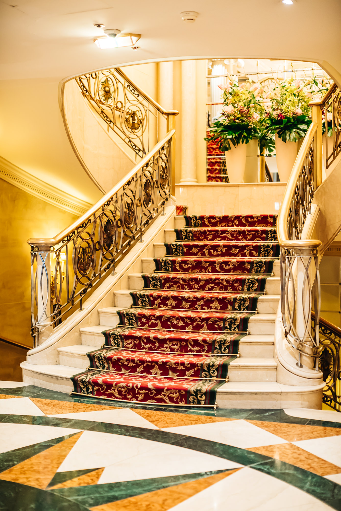 Staircase leading up to restaurant