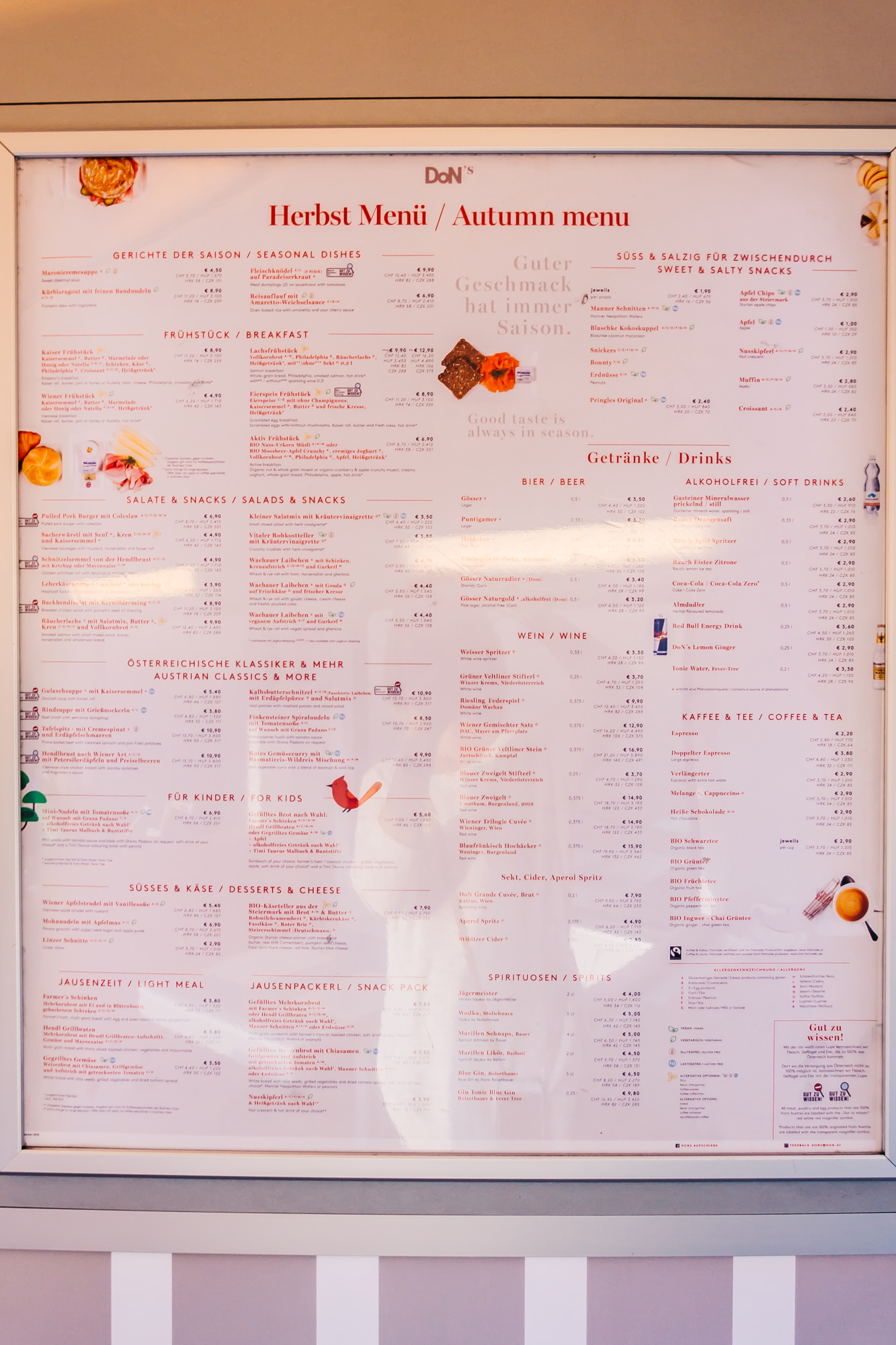 Extensive menu on the train