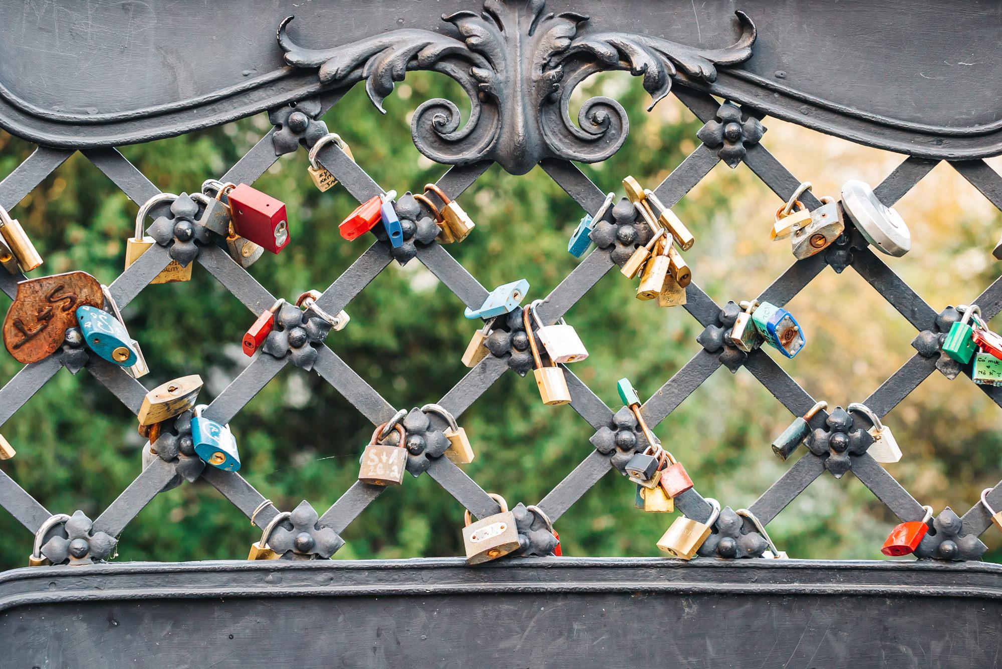 Love locks at St. Michael's Gate