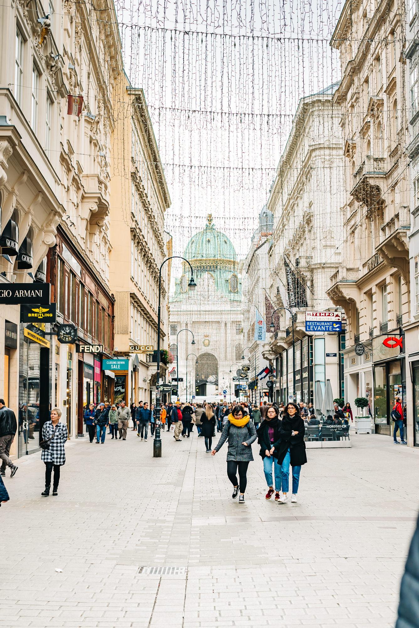 The popular shopping street of Vienna