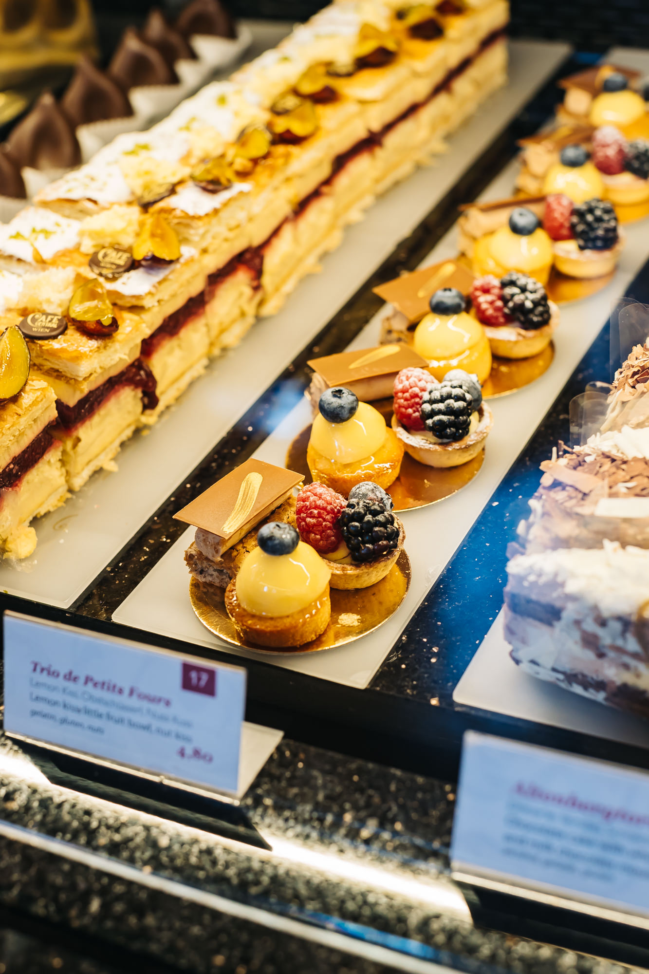 Loads of delicious desserts at Cafe Central in Vienna