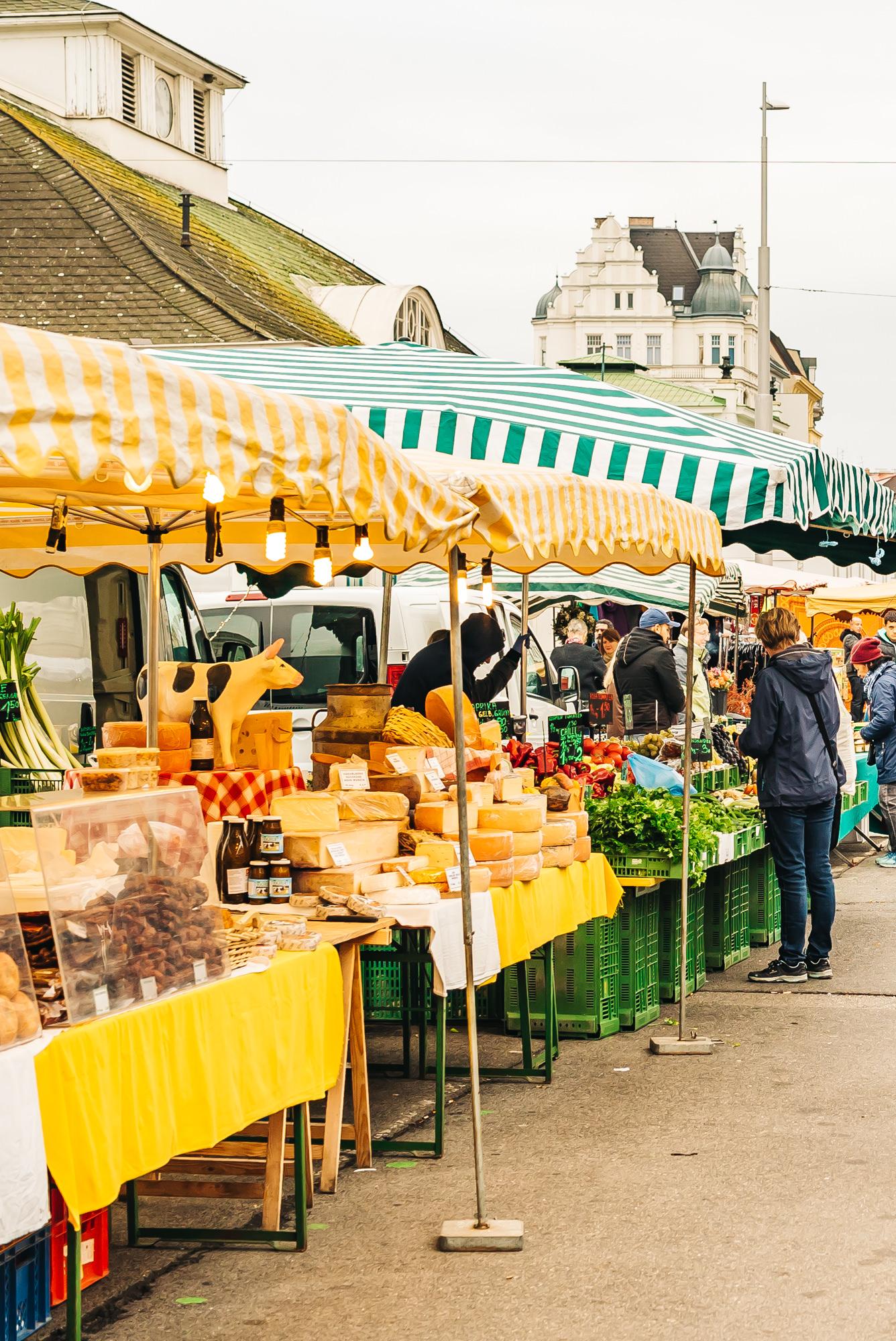 Locals shopping at Naschmarkt