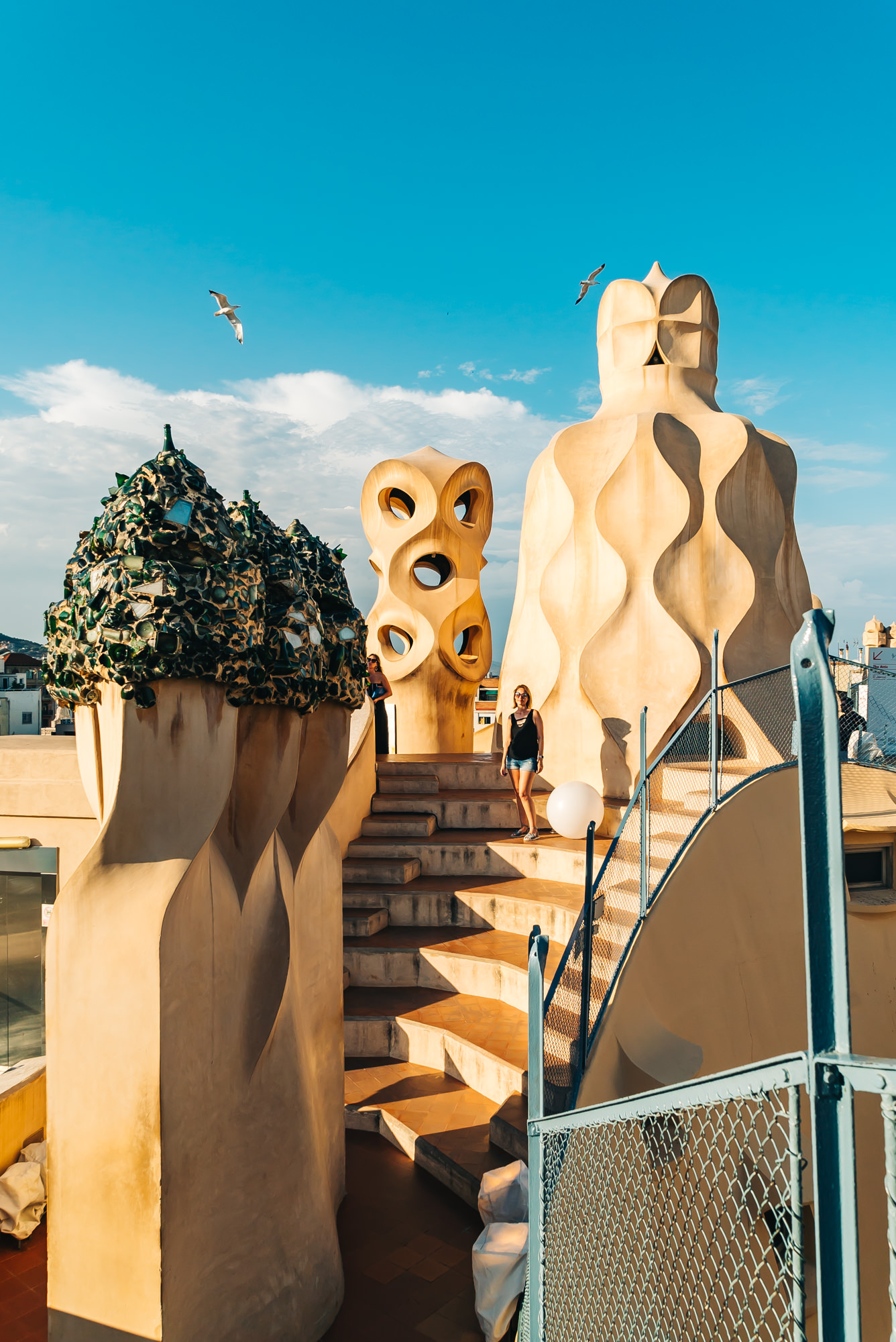 Antoni Gaudi's sculptures on the rooftop of Casa Mila
