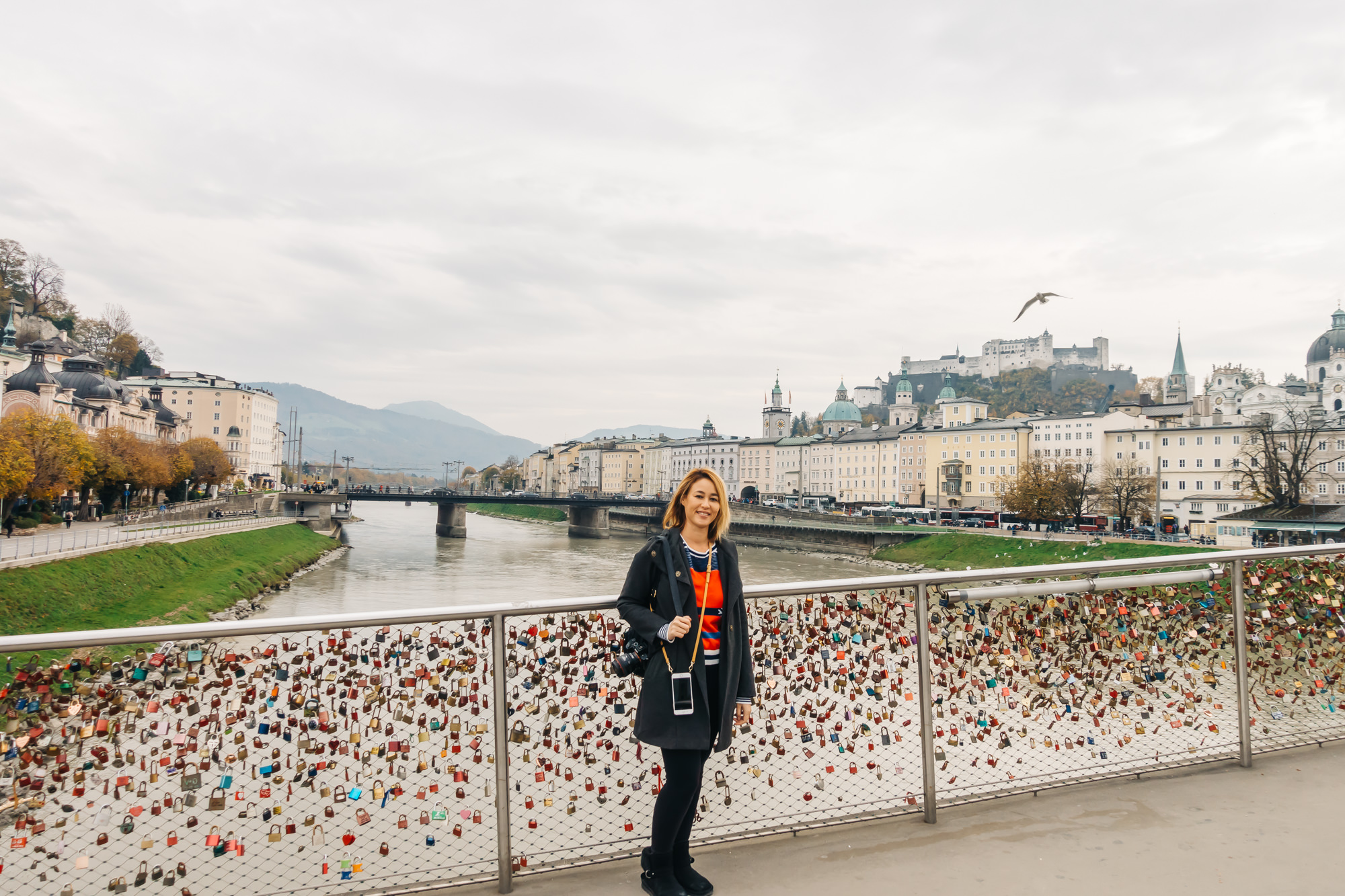 Bridge of love locks crossing over to the other side of Salzburg