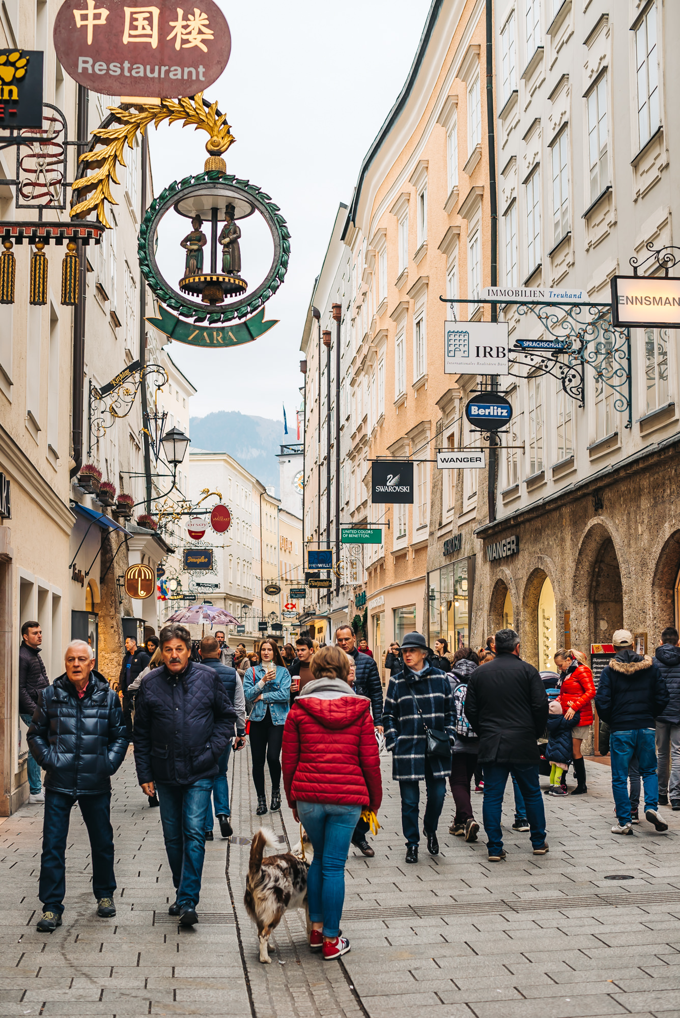 Each store has an iron sign, which is part of Salzburg's tradition