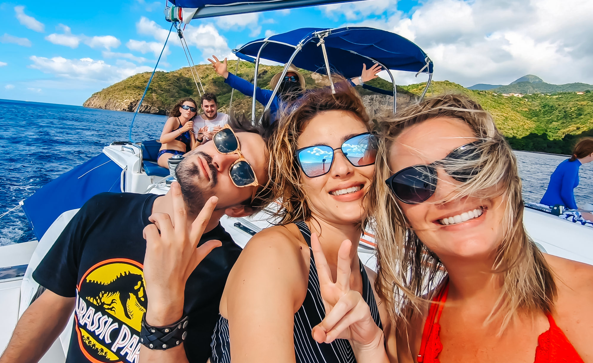 On board the catamaran with my friend, Alyssa, and my new French friend, Guillaume