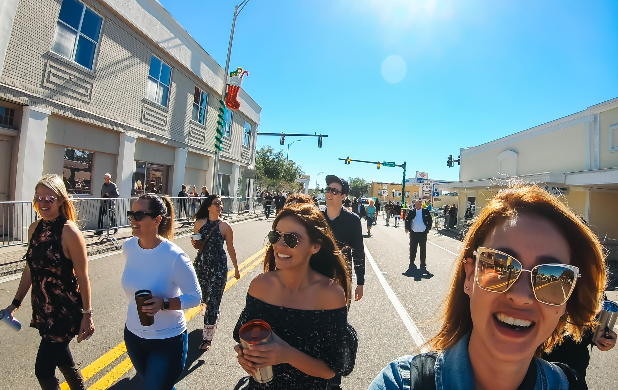 Walking towards the cathedral in downtown Tarpon Springs