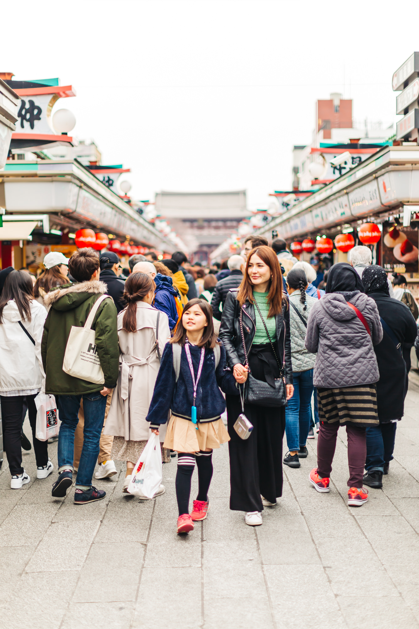 Our little sister and niece walking down Nakamise Shopping Street
