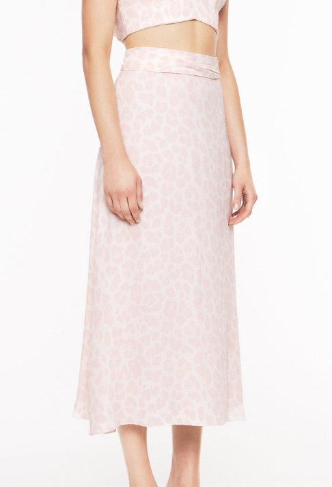 AFRM Blush Pink Leopard Print Skirt