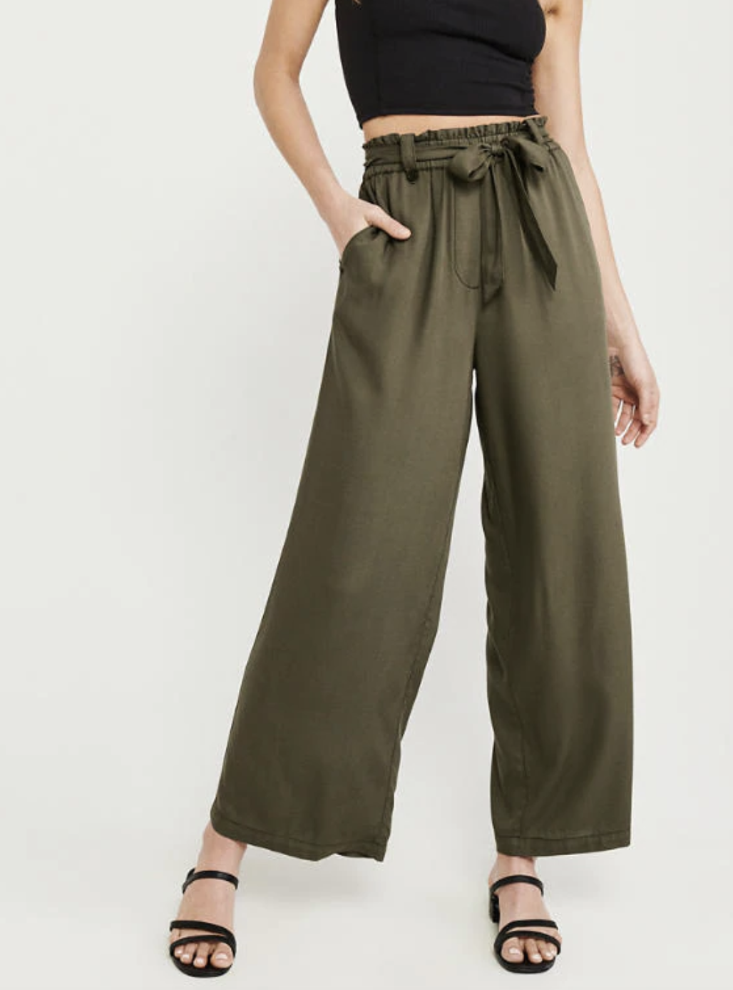 A&F BELTED WIDE-LEG PANTS