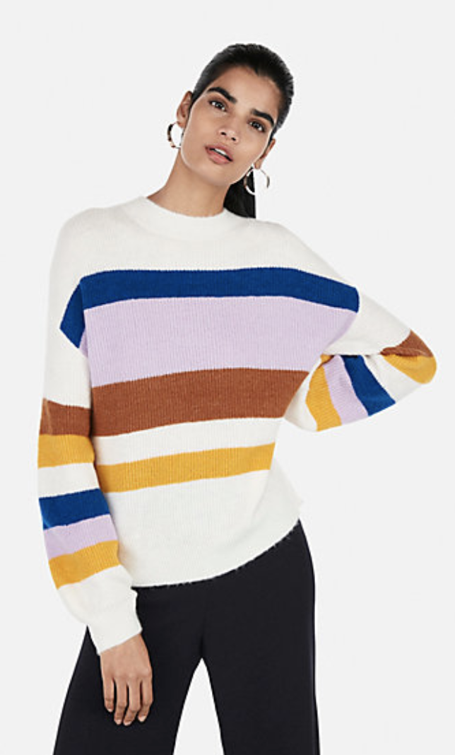 Express Striped Balloon Sleeve Pullover Sweater
