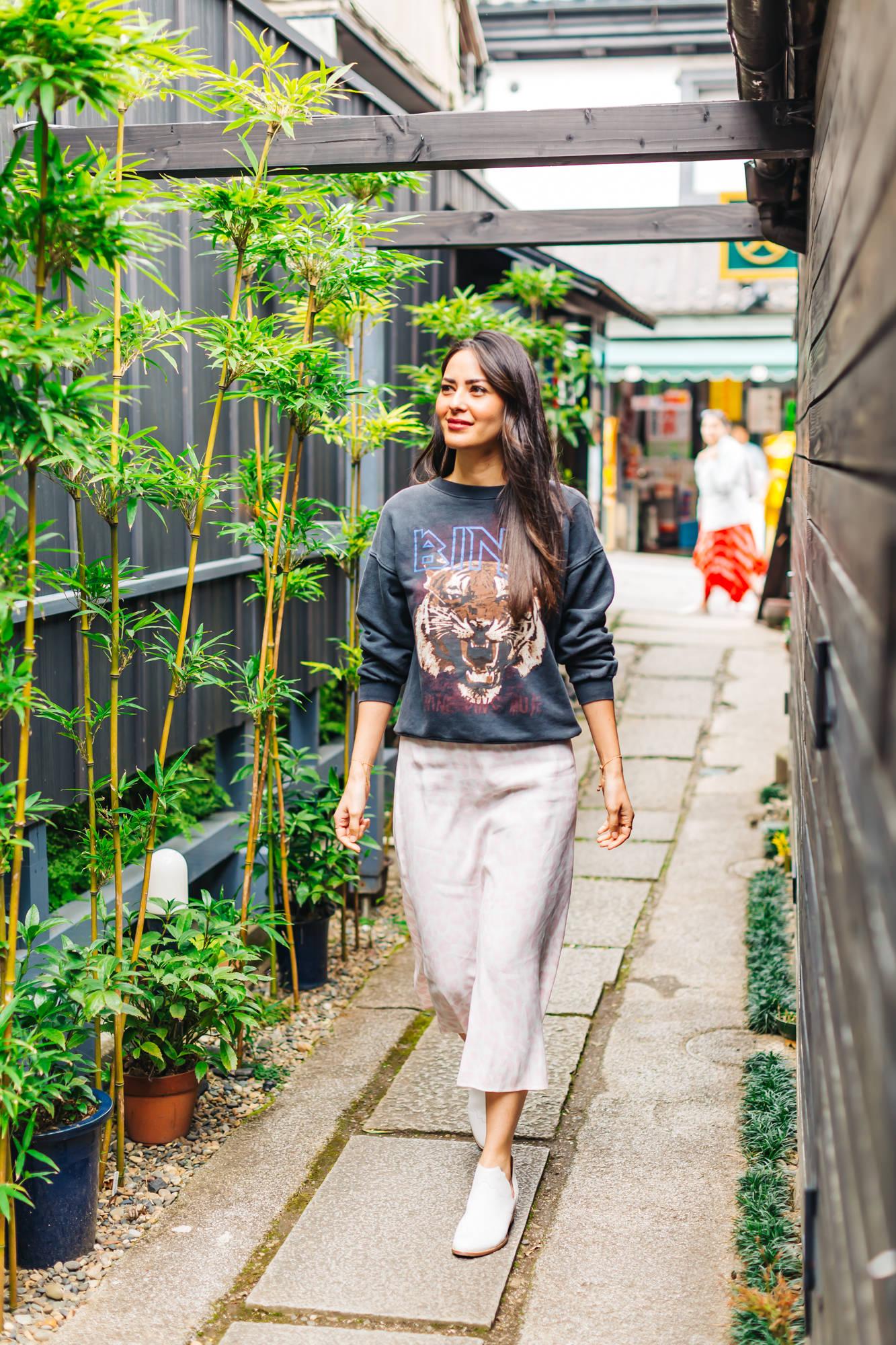 Anine Bing   Sweatshirt   | AFRM   Skirt     | Seychelles     Booties