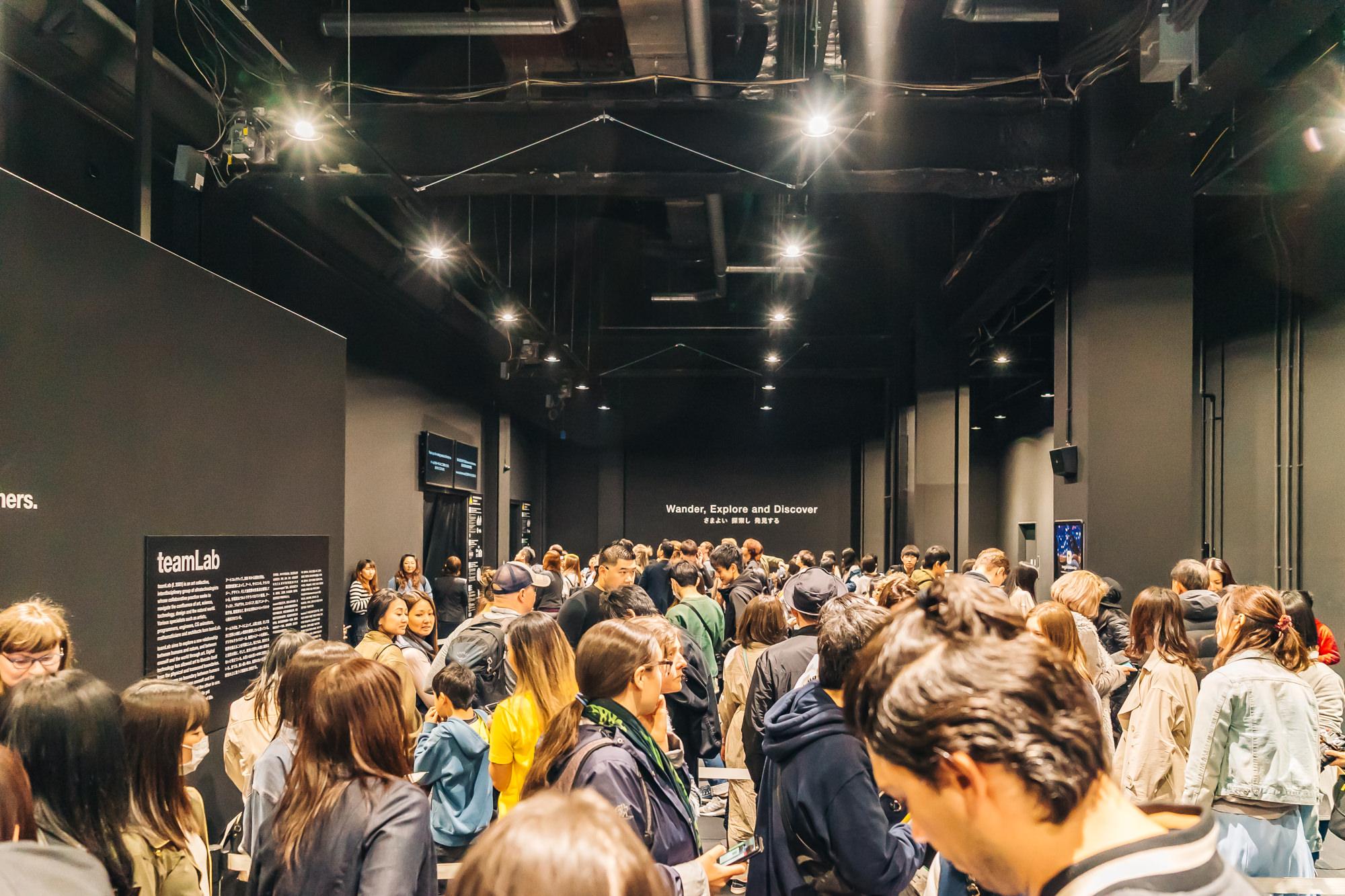 Line inside the teamLab Borderless museum